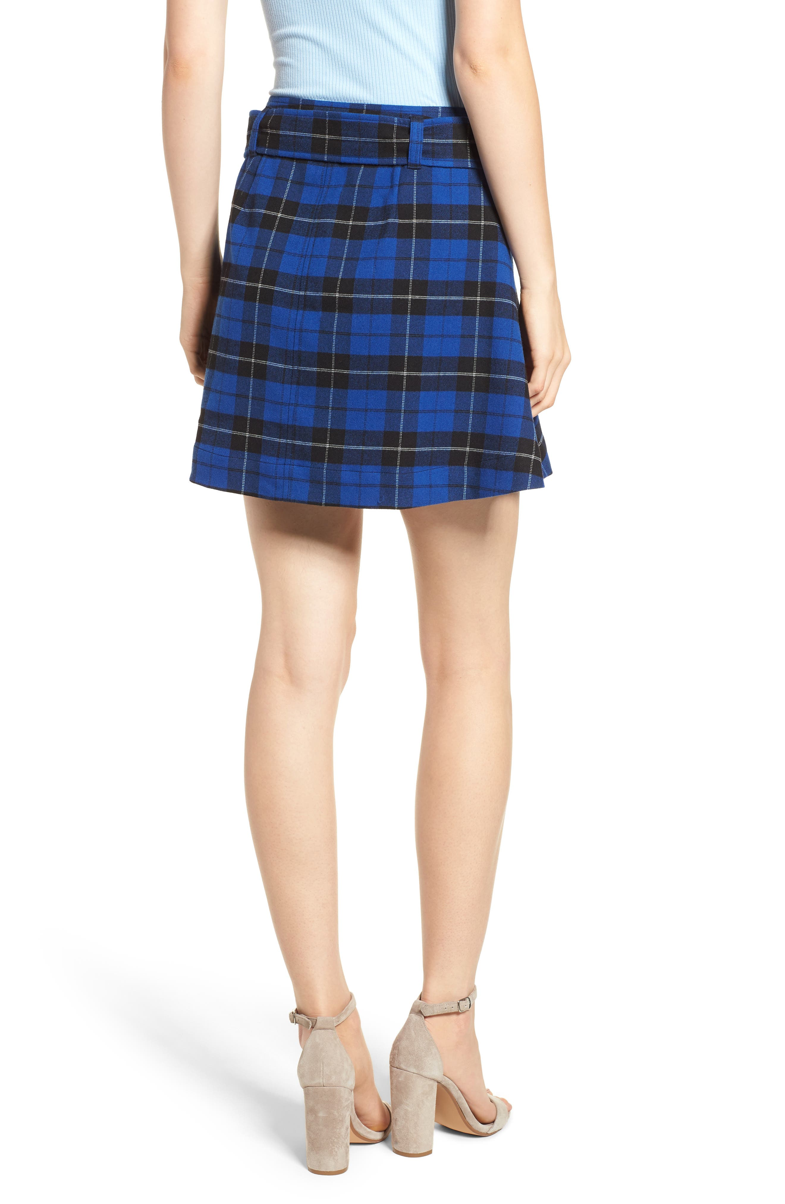 Belted Plaid Skirt,                             Alternate thumbnail 2, color,                             BLUE MAZARINE HAYDEN PLAID