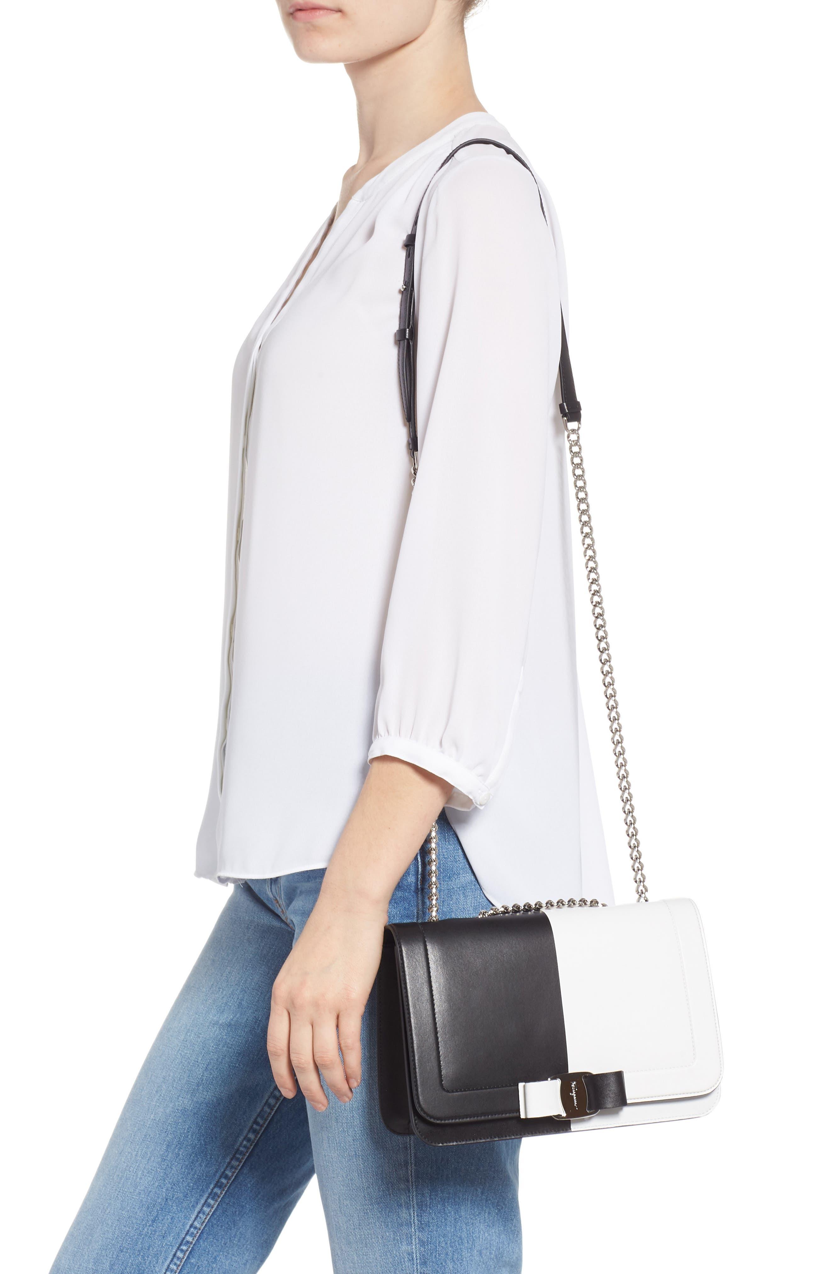 Vara Colorblock Leather Shoulder Bag,                             Alternate thumbnail 2, color,                             BLACK/ WHITE