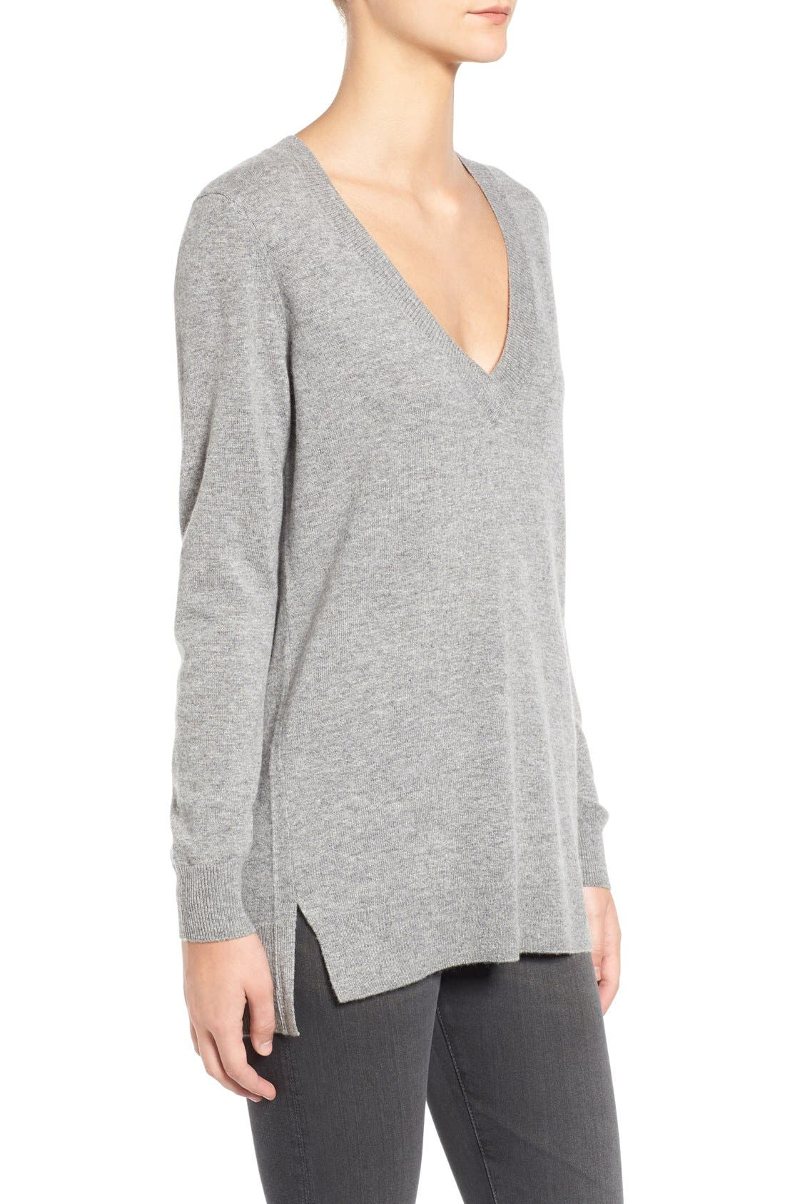 Luna V-Neck Merino & Cashmere Tunic Sweater,                             Alternate thumbnail 5, color,