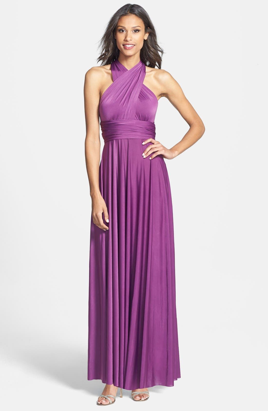 Convertible Wrap Tie Surplice Jersey Gown,                             Main thumbnail 4, color,