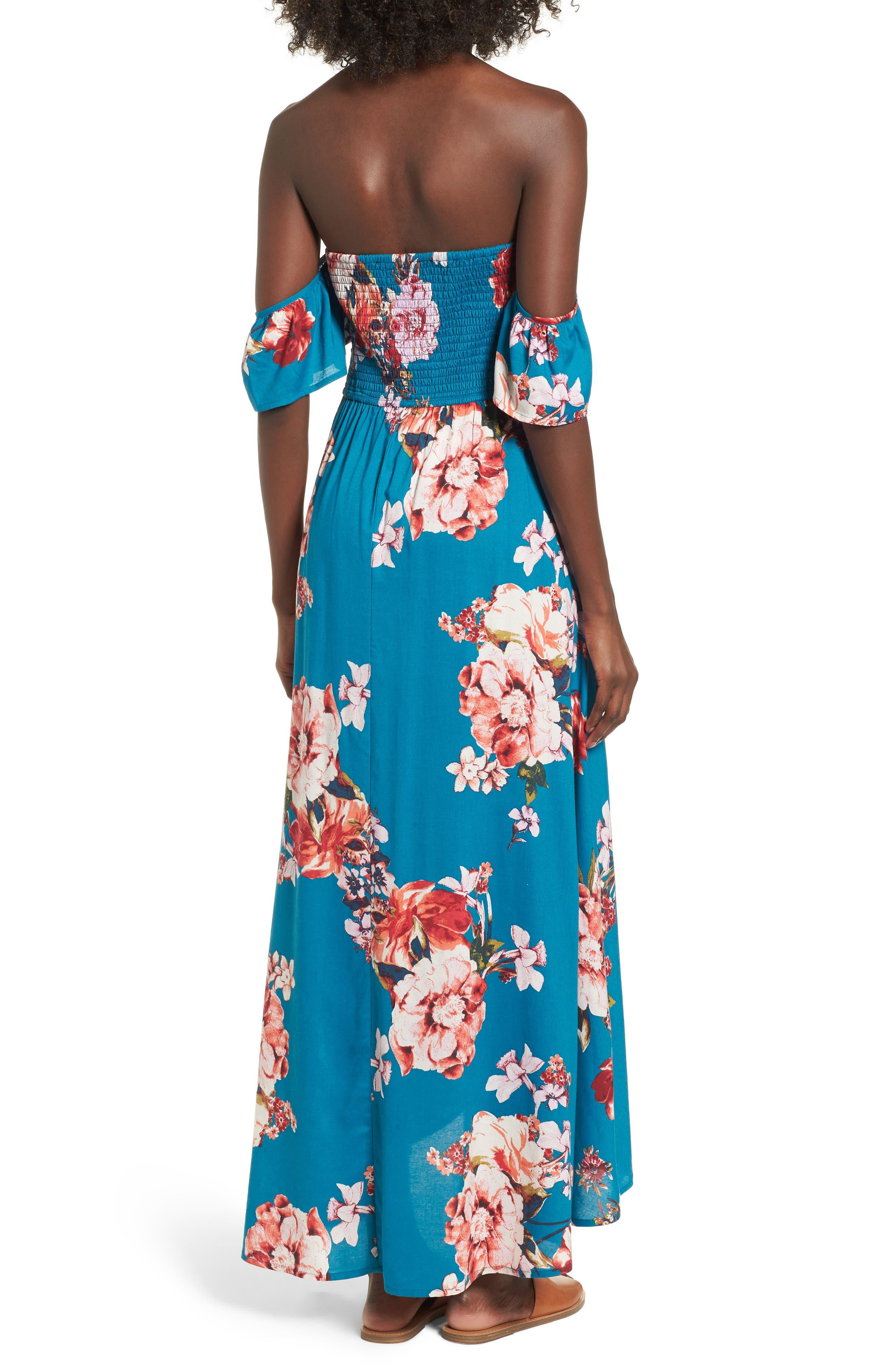Lace Up Cold Shoulder Maxi Dress,                             Alternate thumbnail 2, color,                             402