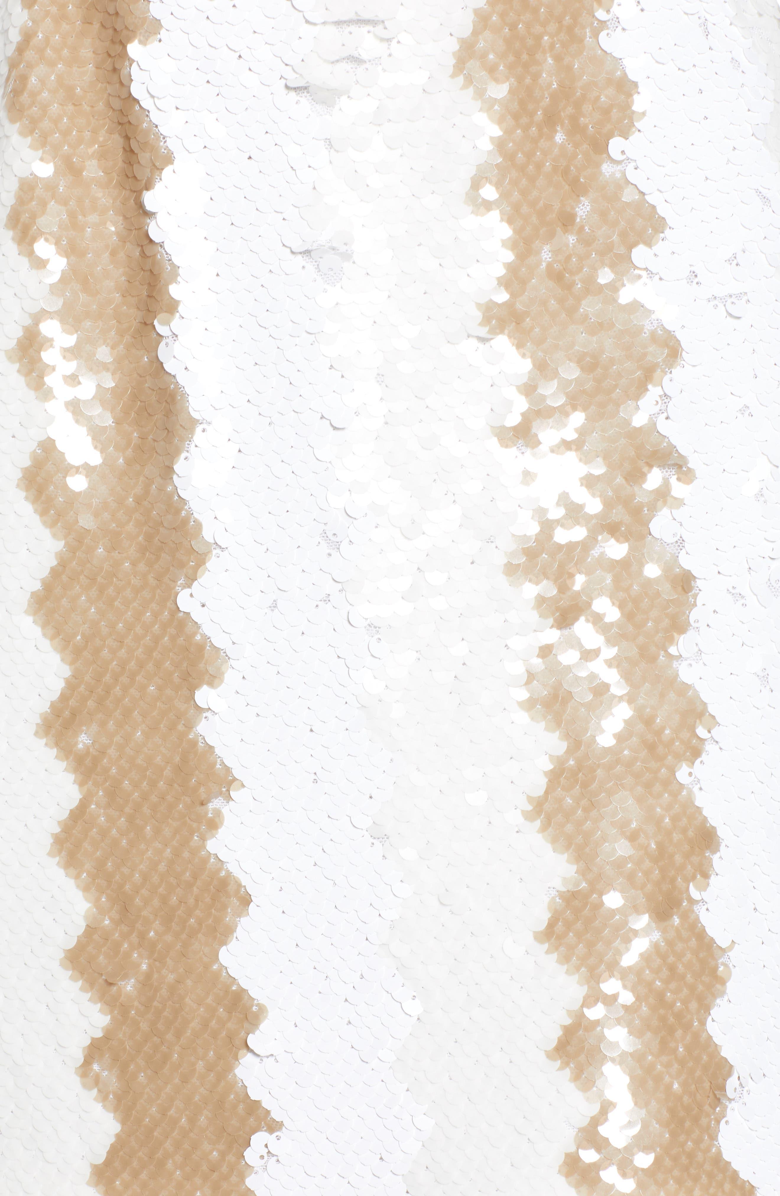Sequin Minidress,                             Alternate thumbnail 6, color,                             WHITE