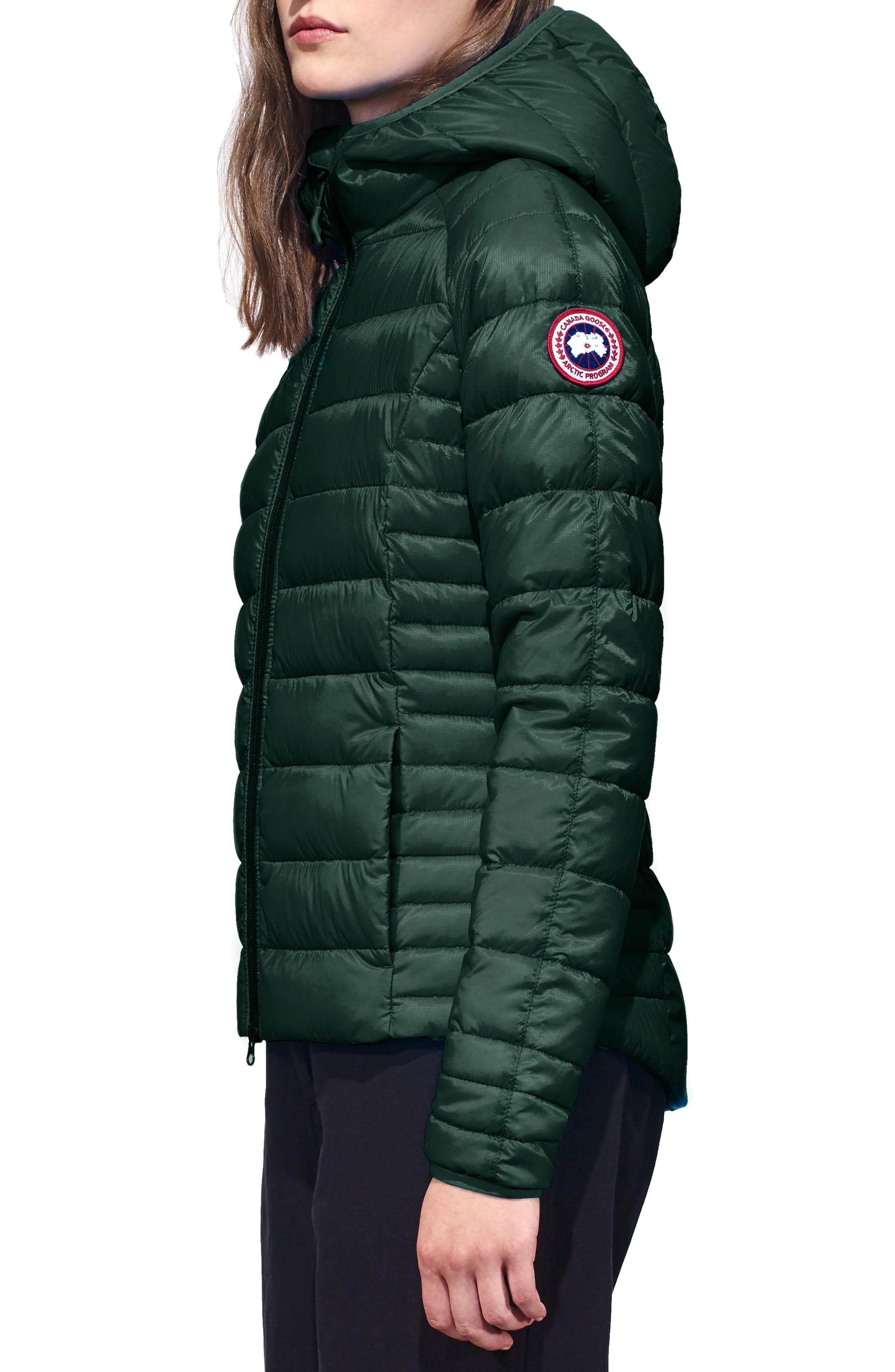 'Brookvale' Packable Hooded Quilted Down Jacket,                             Alternate thumbnail 3, color,                             SPRUCE/BLACK
