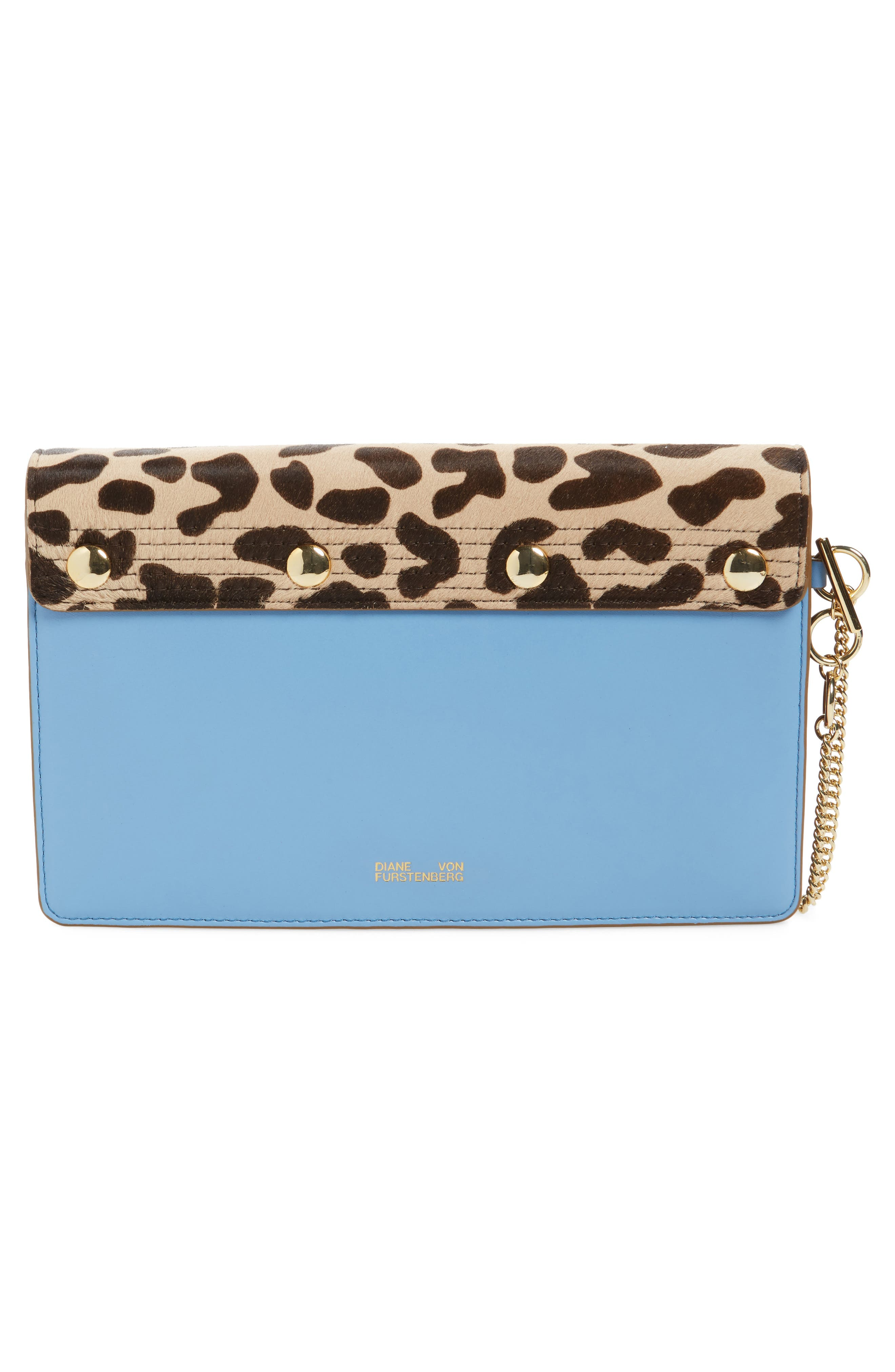 Convertible Leather & Genuine Calf Hair Saddle Clutch,                             Alternate thumbnail 3, color,                             200