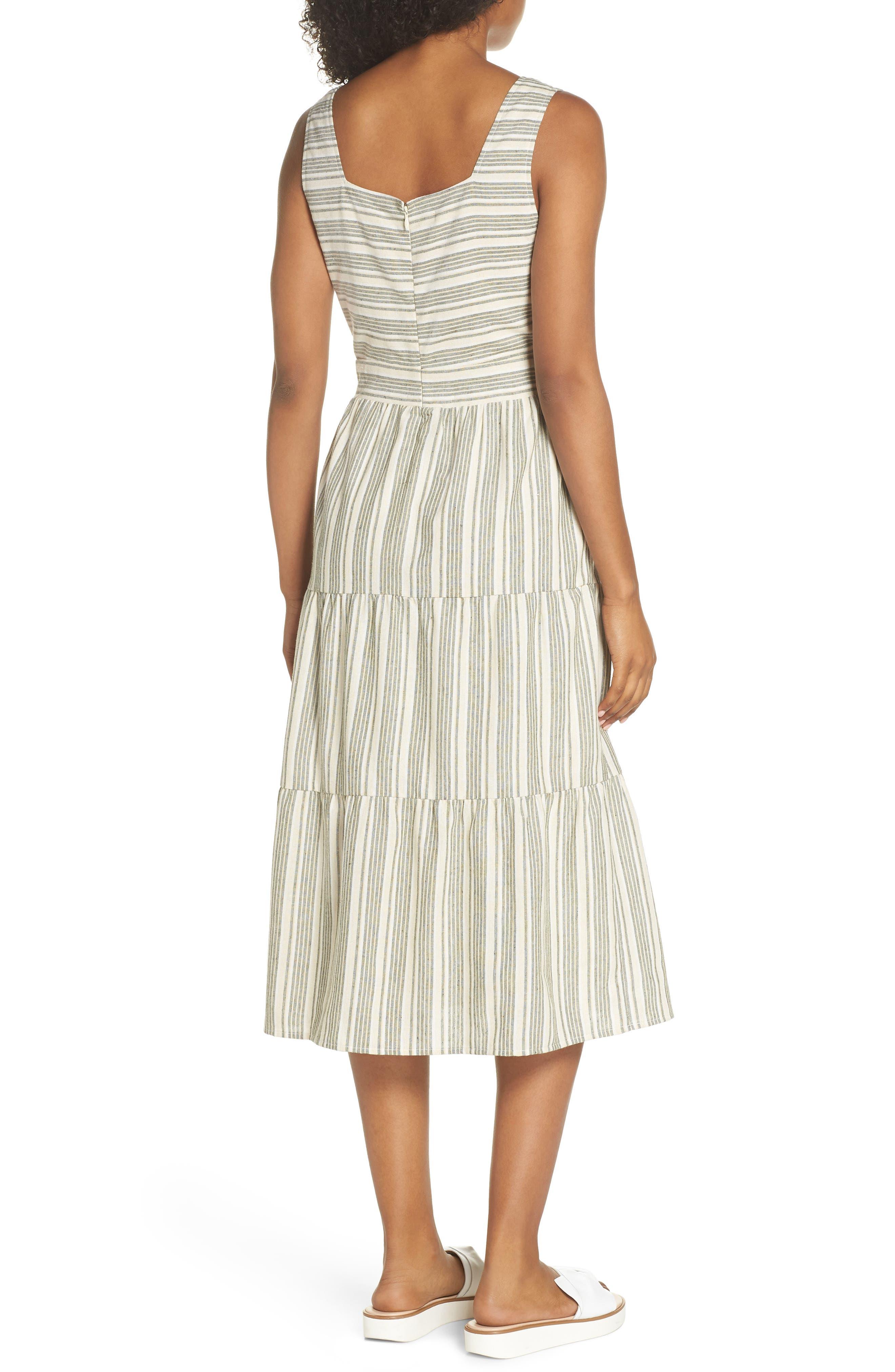 Sleeveless Stripe Midi Dress,                             Alternate thumbnail 2, color,                             300