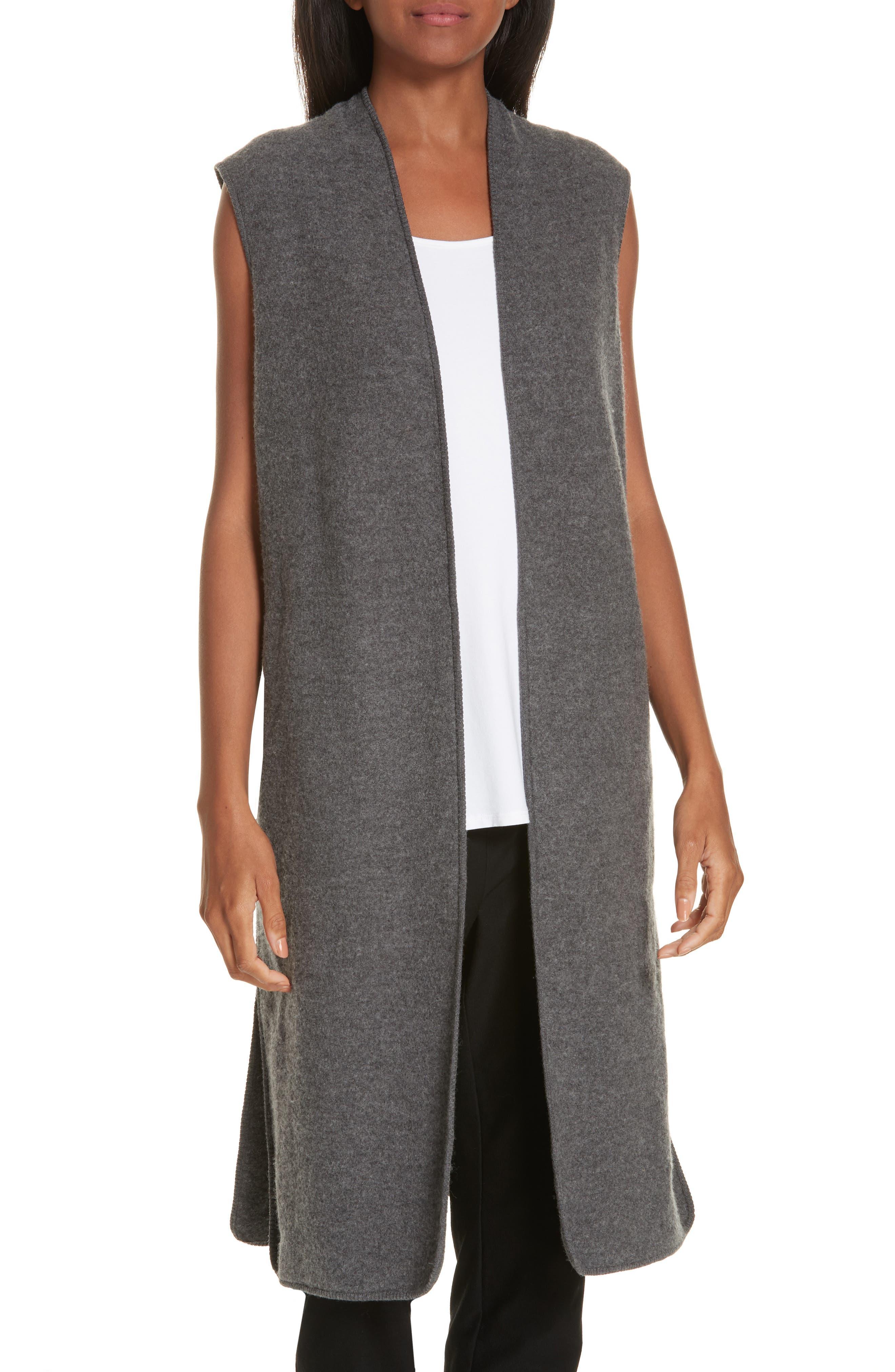 Long Merino Wool Vest,                             Main thumbnail 1, color,                             030