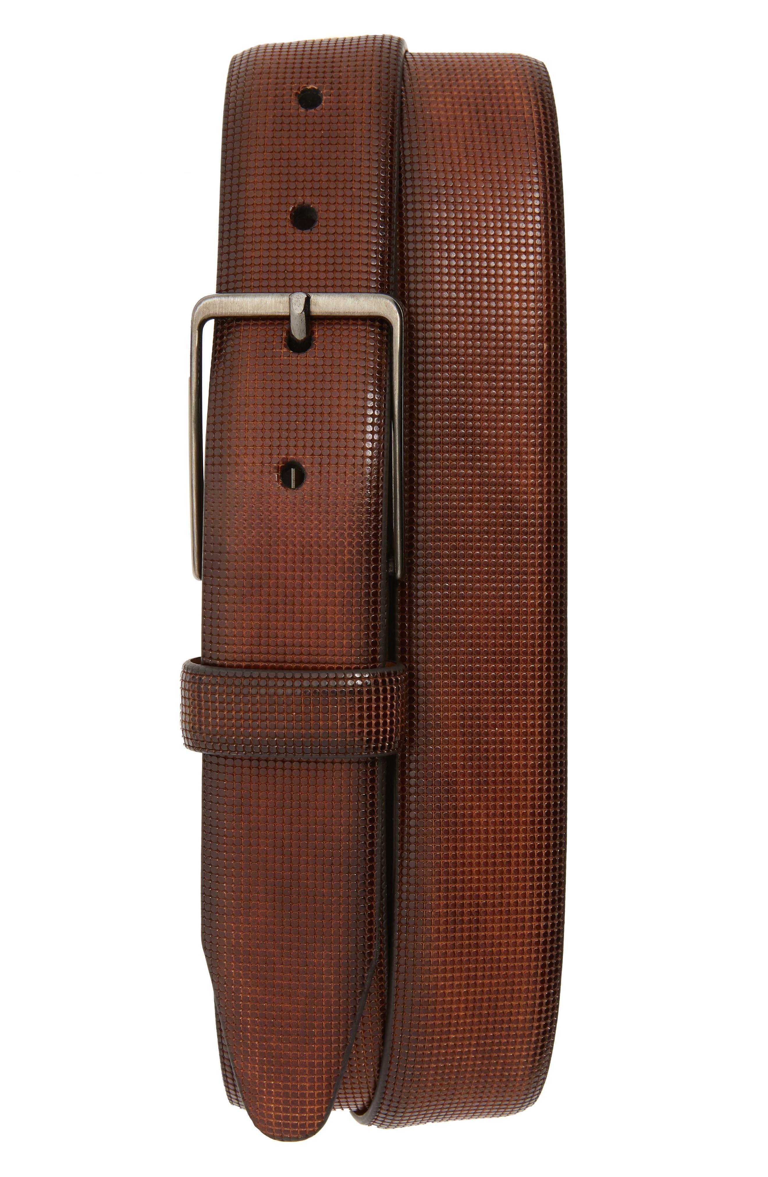 Johnston & Murphy Mini Embossed Leather Belt, Brown