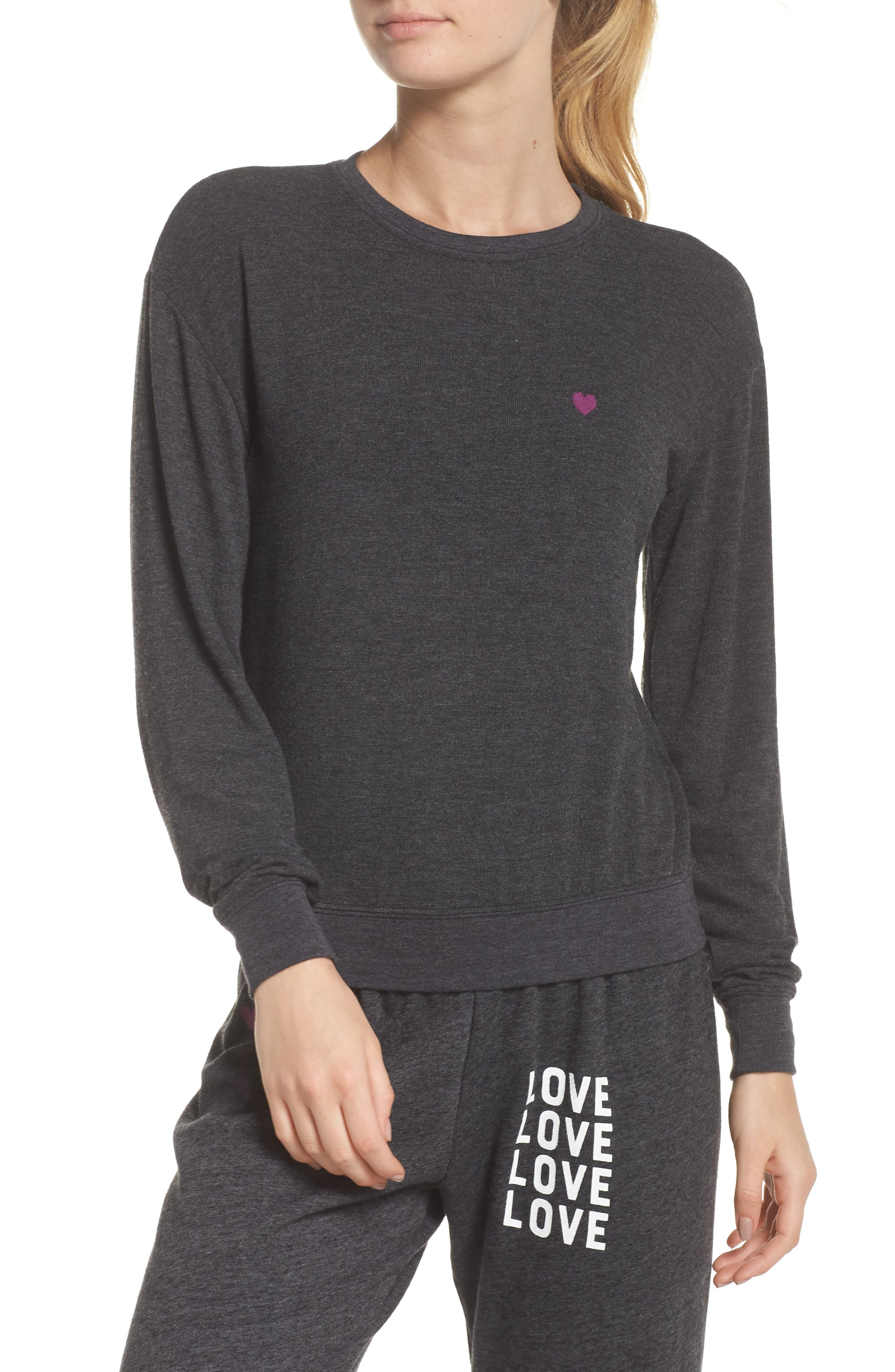 Love Wins Savasana Sweatshirt,                             Main thumbnail 1, color,                             VINTAGE BLACK