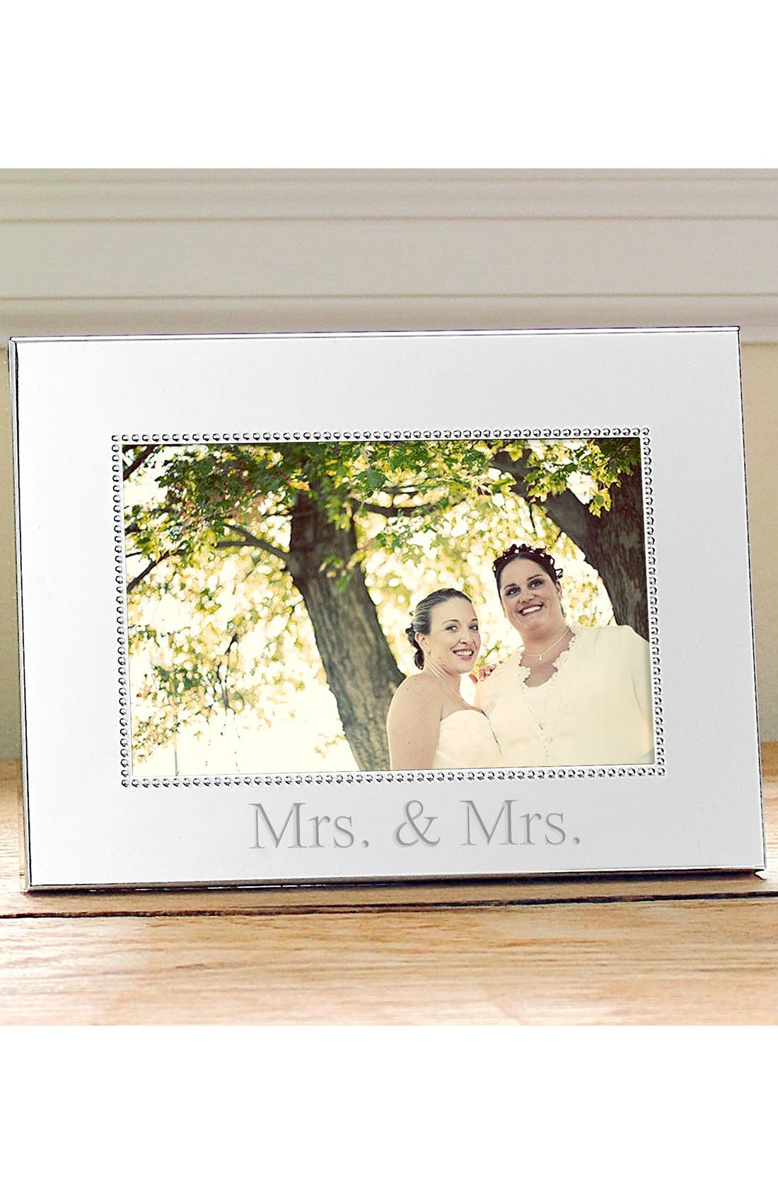 For the Couple Beaded Silver Picture Frame, Main, color, MRS & MRS