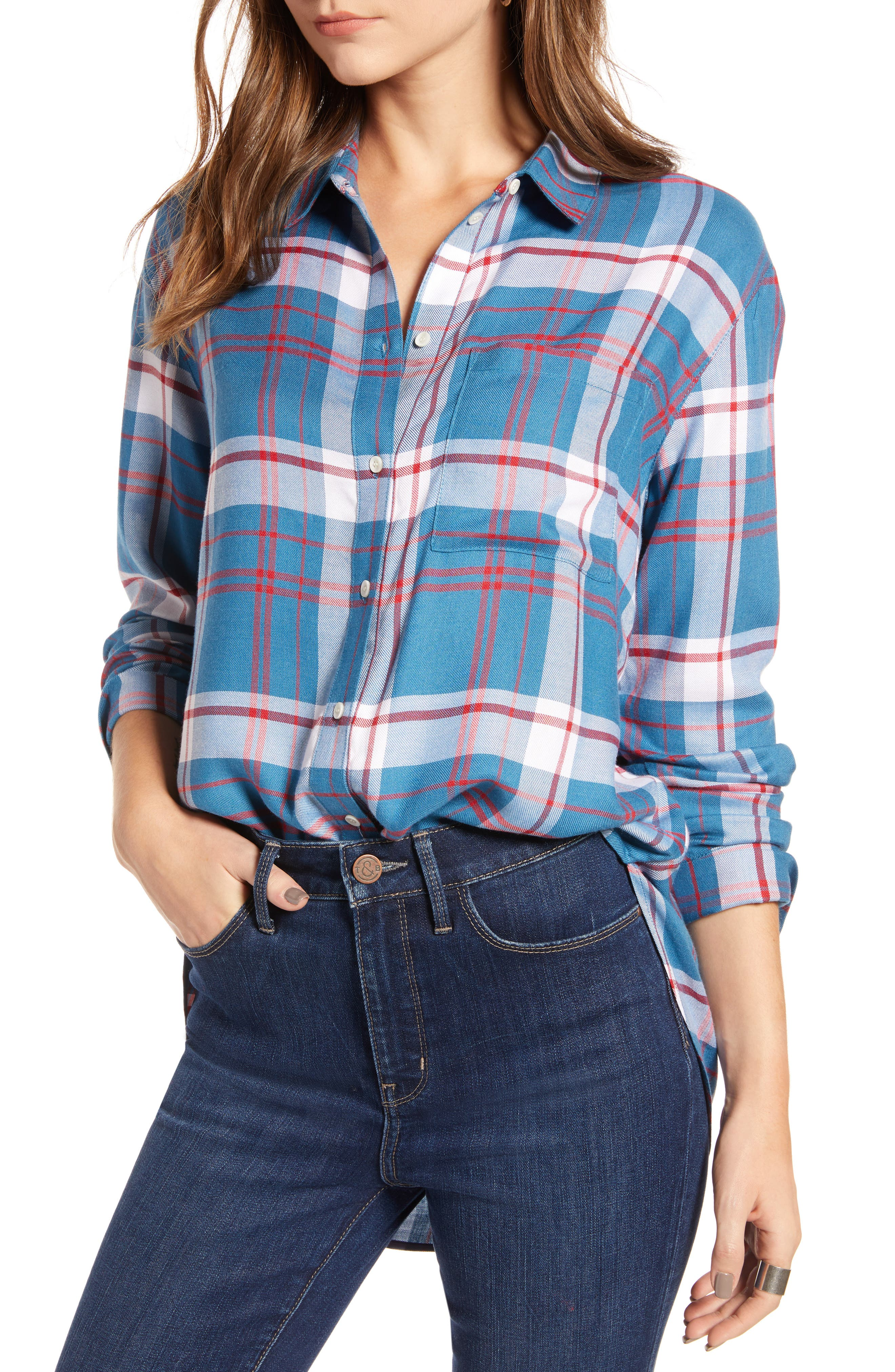Plaid Boyfriend Shirt,                             Main thumbnail 1, color,                             BLUE WATER FOREST PLAID
