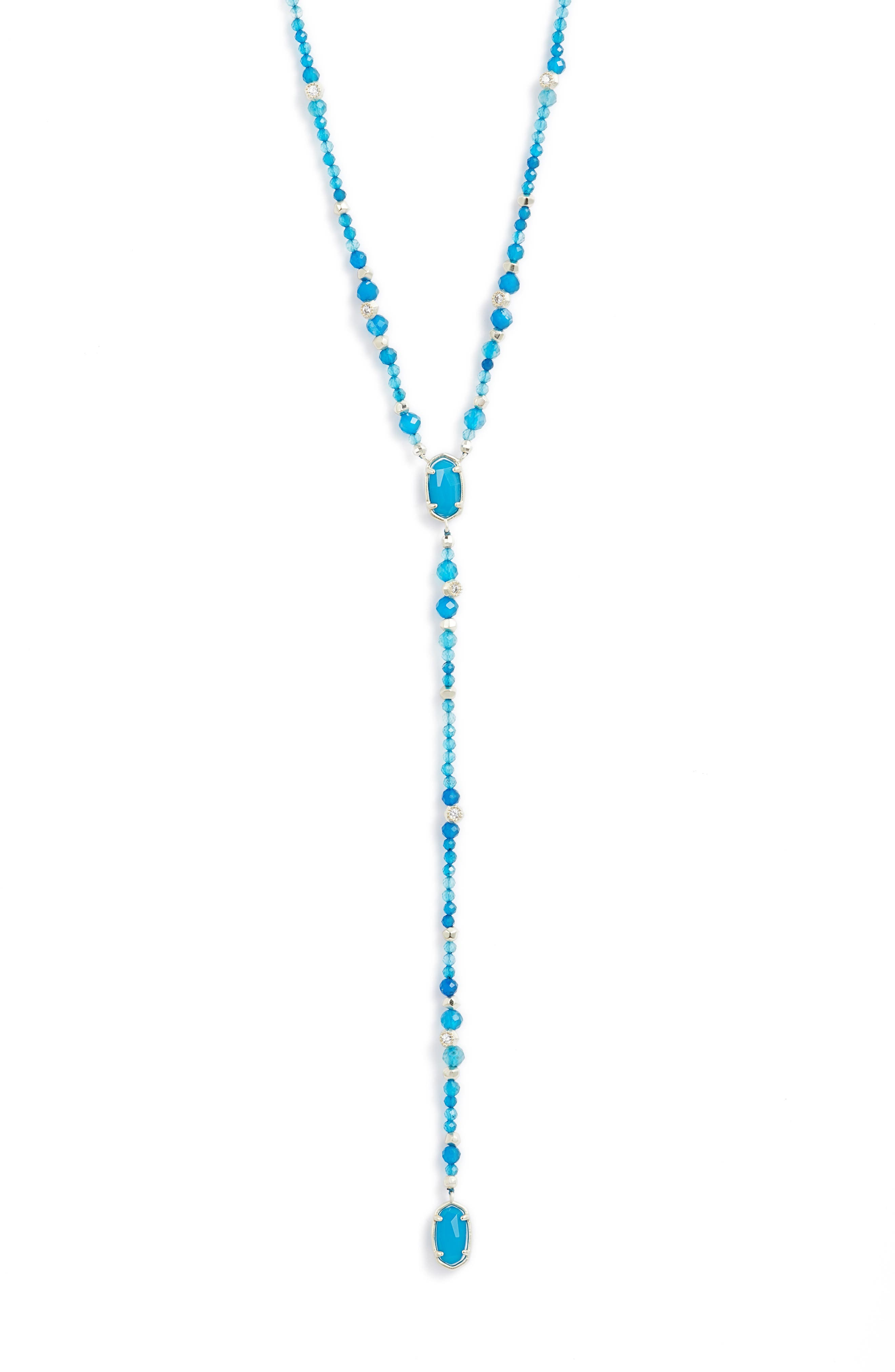 Bethany Y-Shaped Necklace,                             Alternate thumbnail 2, color,                             TEAL UNBANDED AGATE/ GOLD