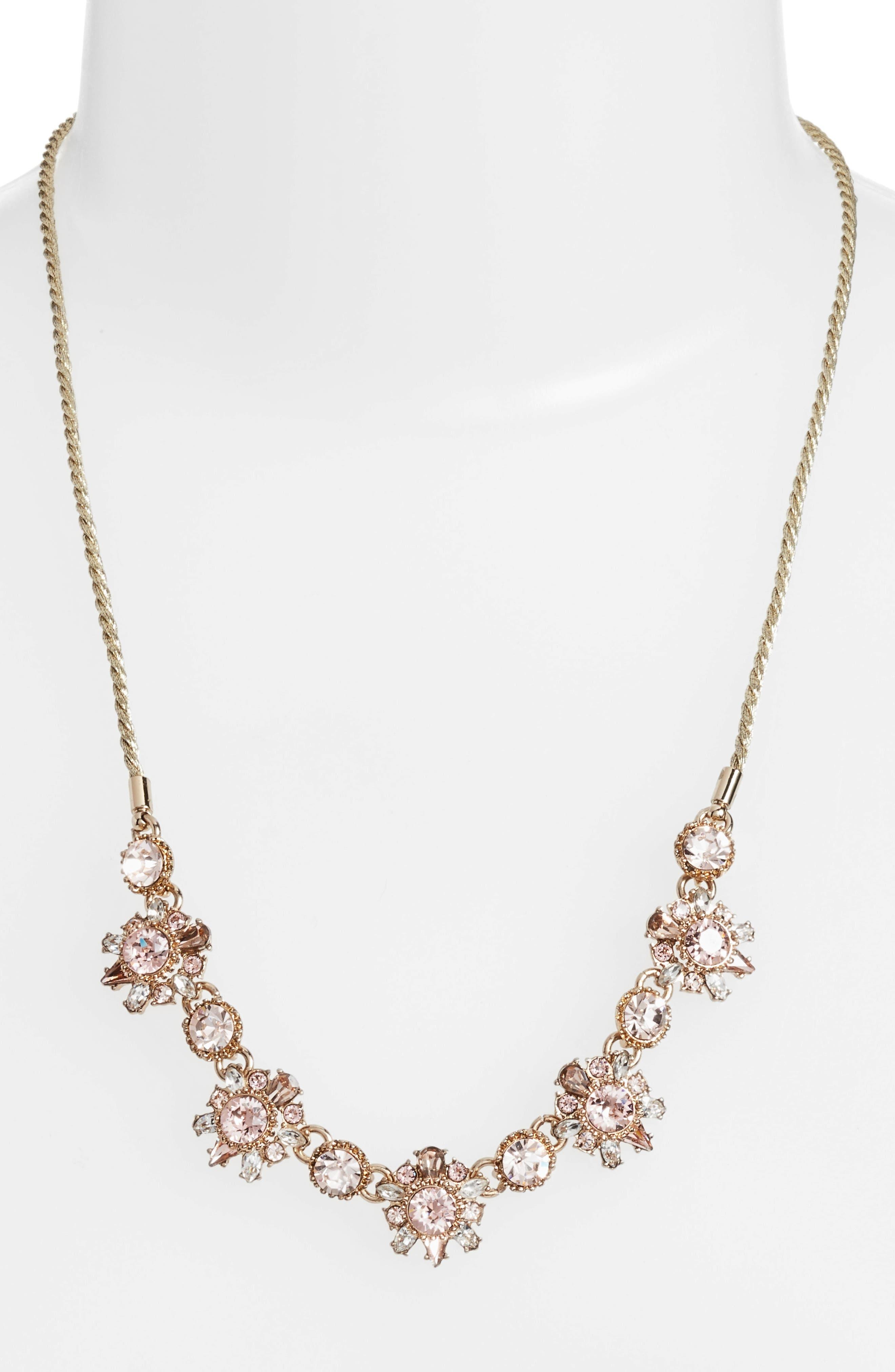 Crystal Necklace,                             Alternate thumbnail 2, color,                             GOLD/ VINTAGE ROSE