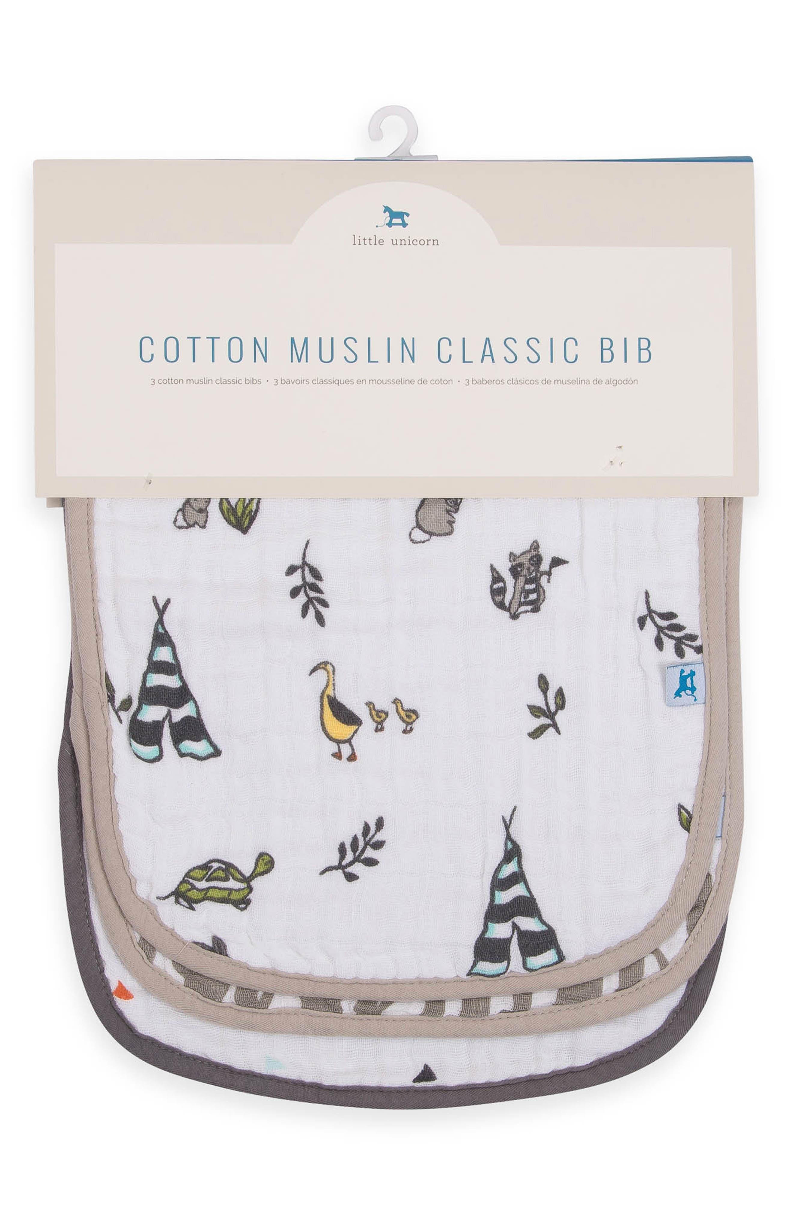 3-Pack Classic Cotton Muslin Bibs,                             Alternate thumbnail 3, color,                             FOREST FRIENDS