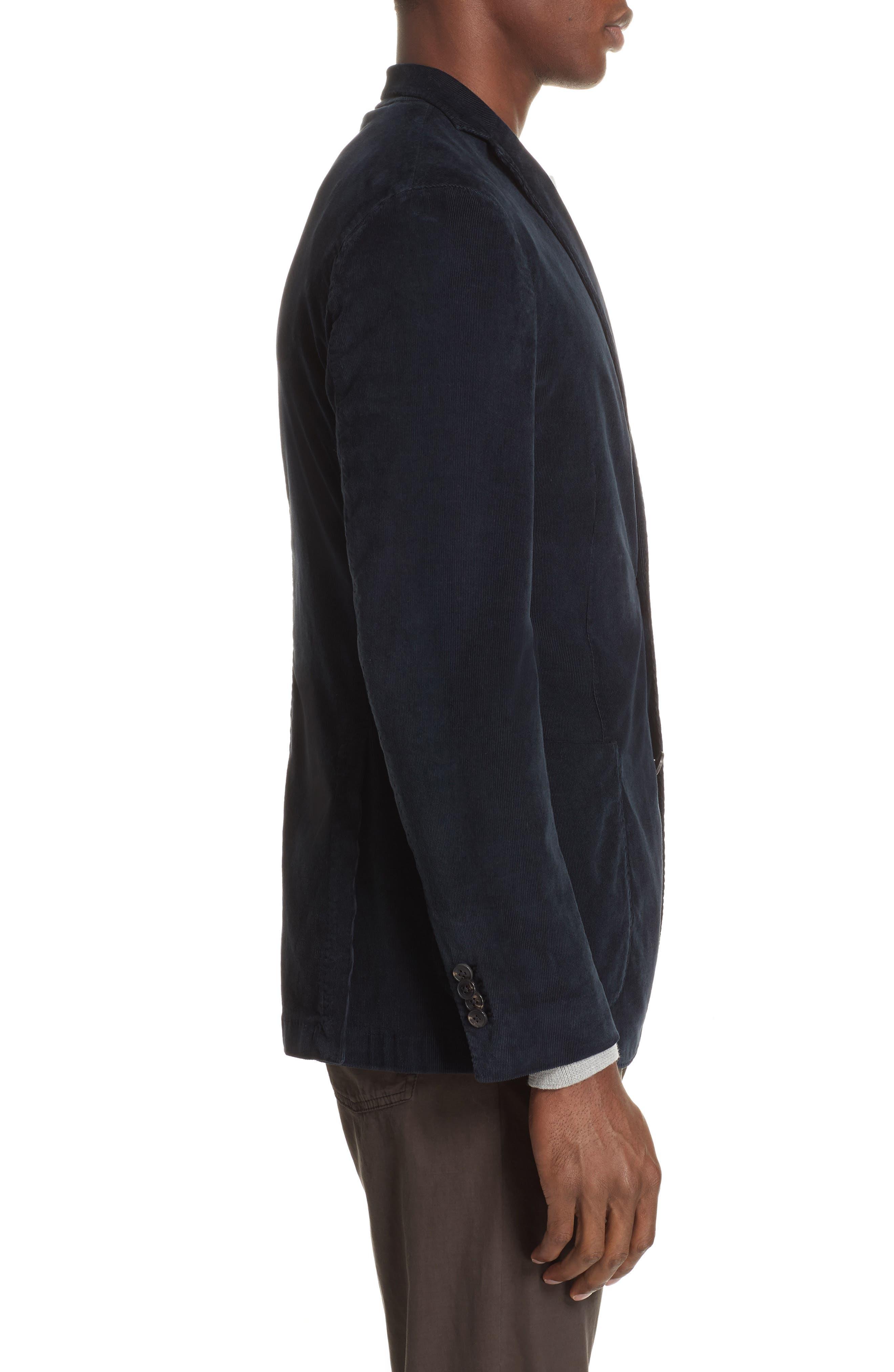Trim Fit Stretch Corduroy Cotton Blazer,                             Alternate thumbnail 3, color,                             NAVY