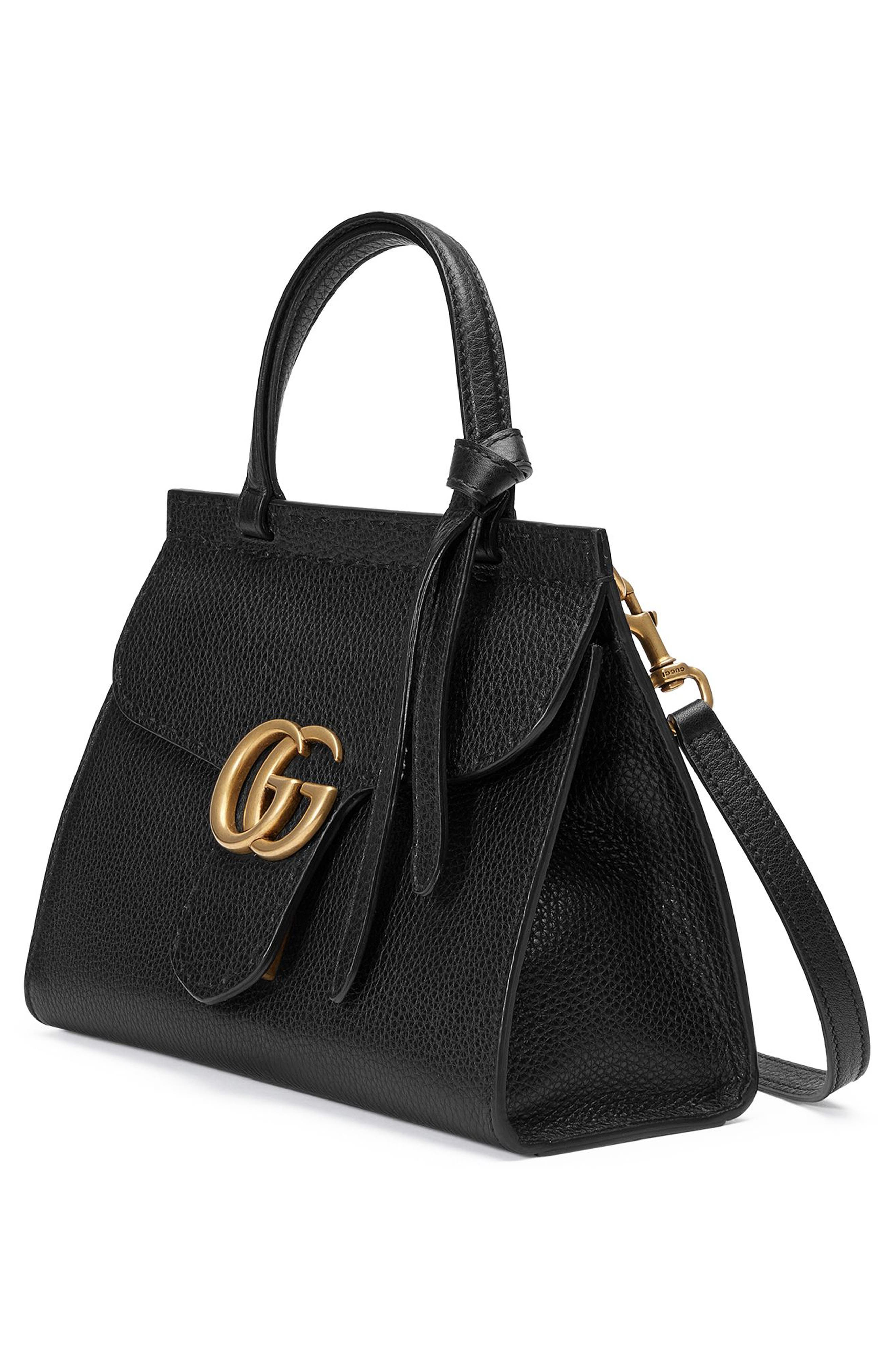 Small GG Marmont Top Handle Satchel,                             Alternate thumbnail 4, color,                             001