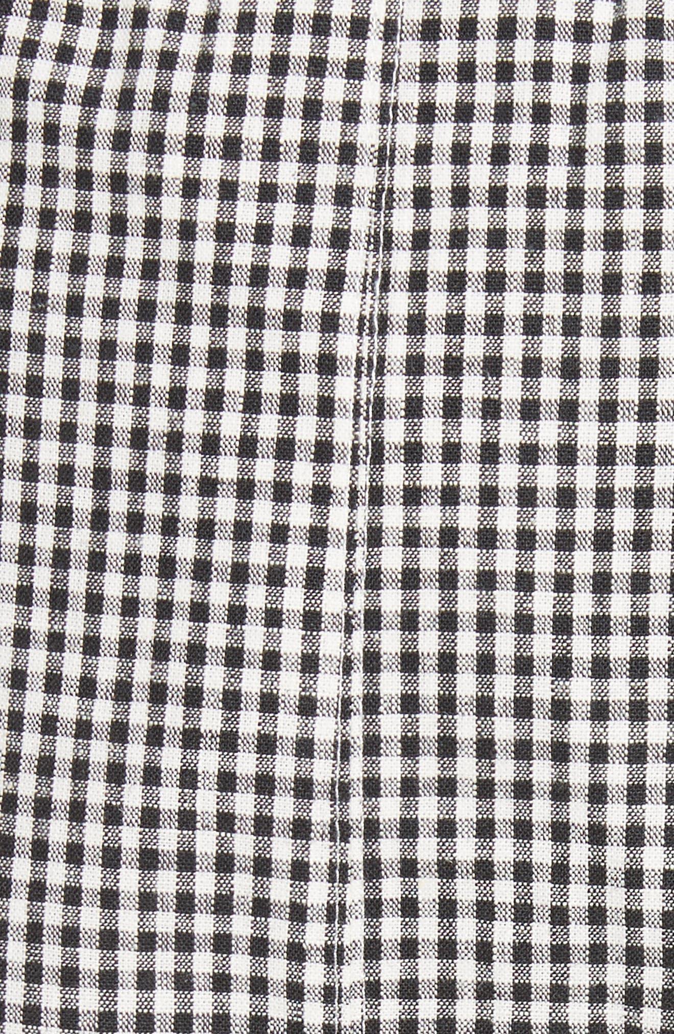 Uniform Gingham Linen & Cotton Skirt,                             Alternate thumbnail 5, color,                             004