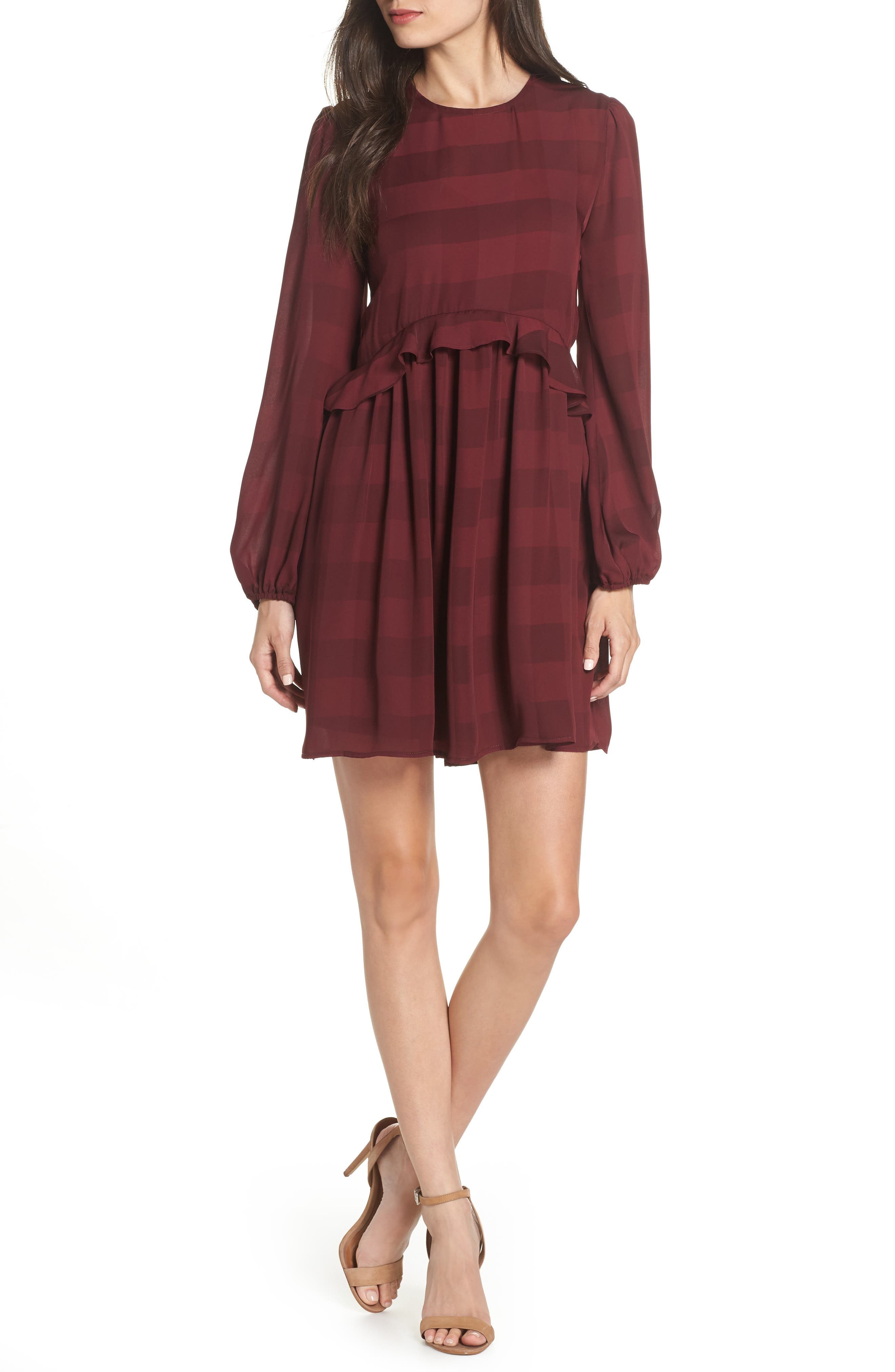 Heidi Ruffle Stripe Minidress,                             Main thumbnail 1, color,                             BURGUNDY