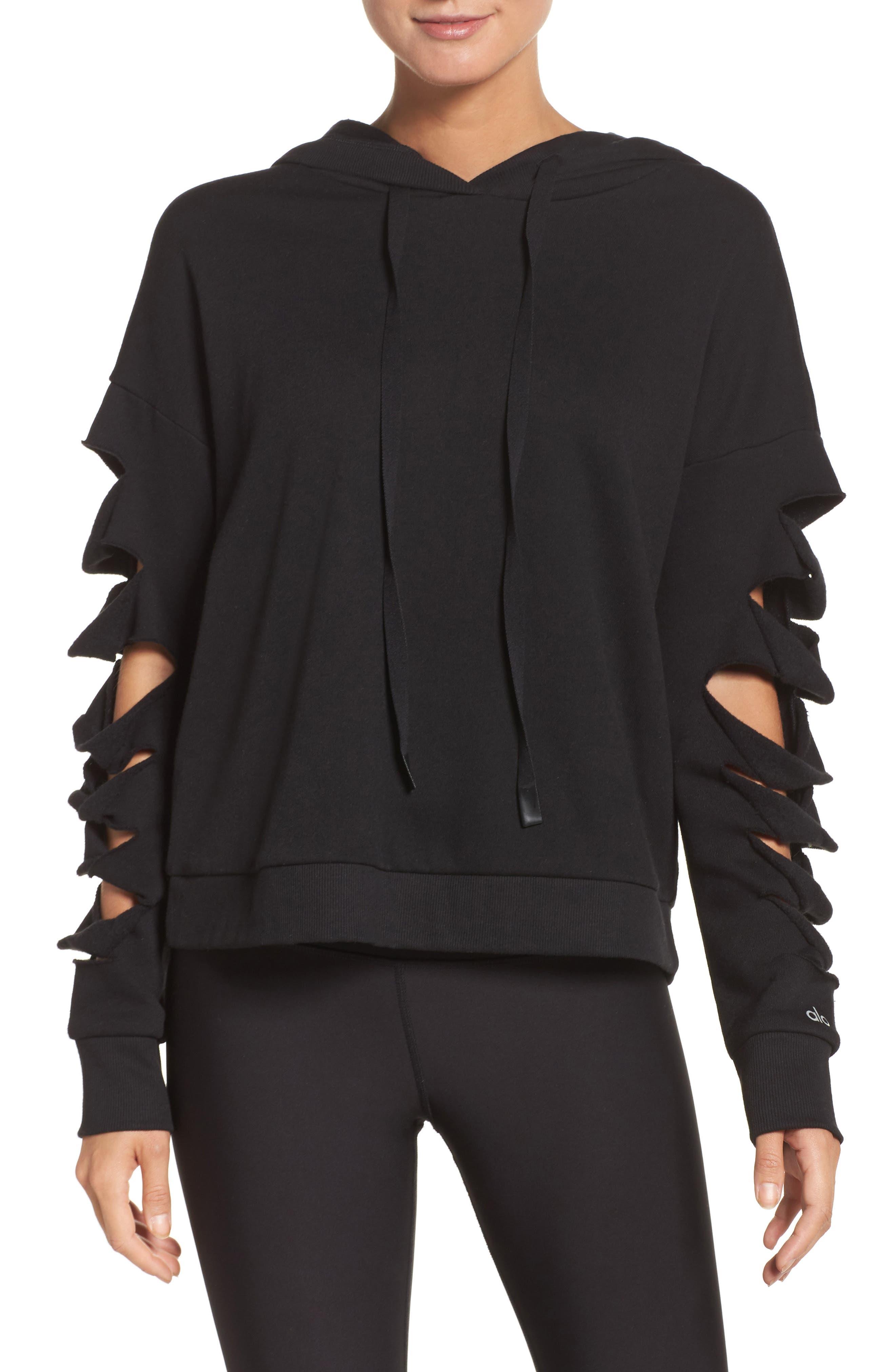 Slay Slashed Long Sleeve Hoodie,                         Main,                         color, 001