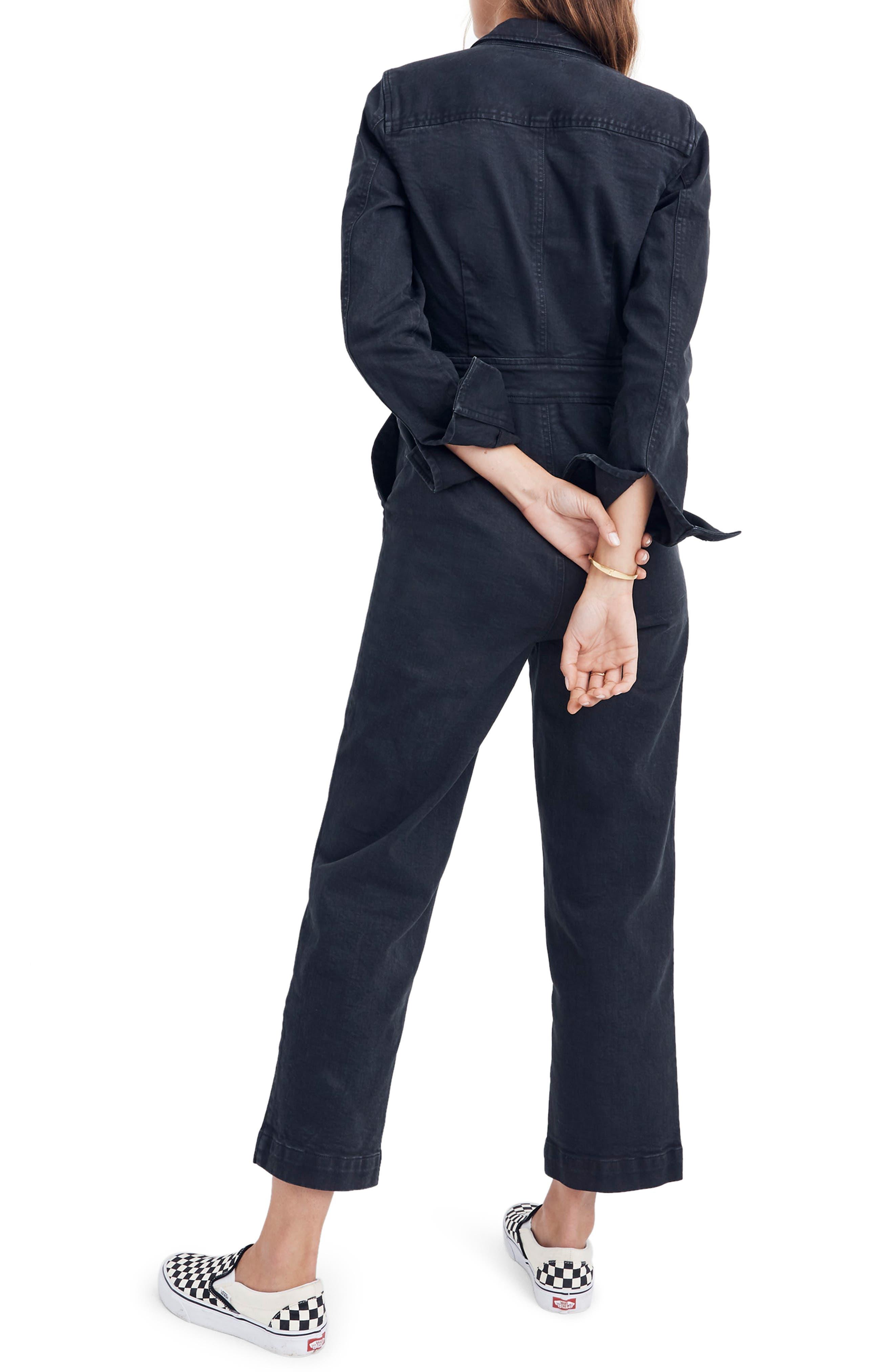 Garment Dyed Denim Slim Coverall Jumpsuit,                             Alternate thumbnail 2, color,                             CLASSIC BLACK