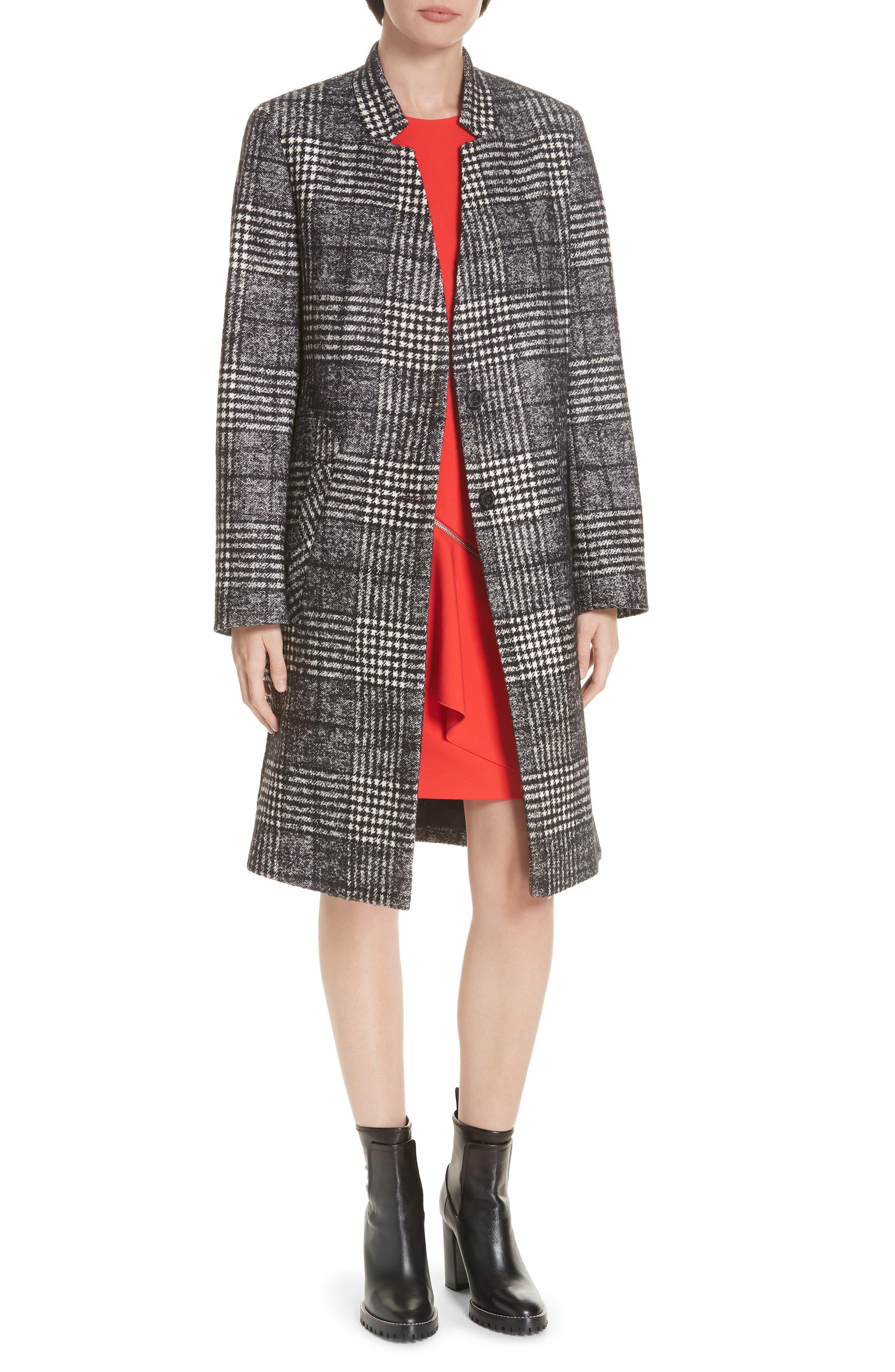 Magrete Bold Check Stretch Cotton Wool Coat, Main, color, BLACK/ WHITE