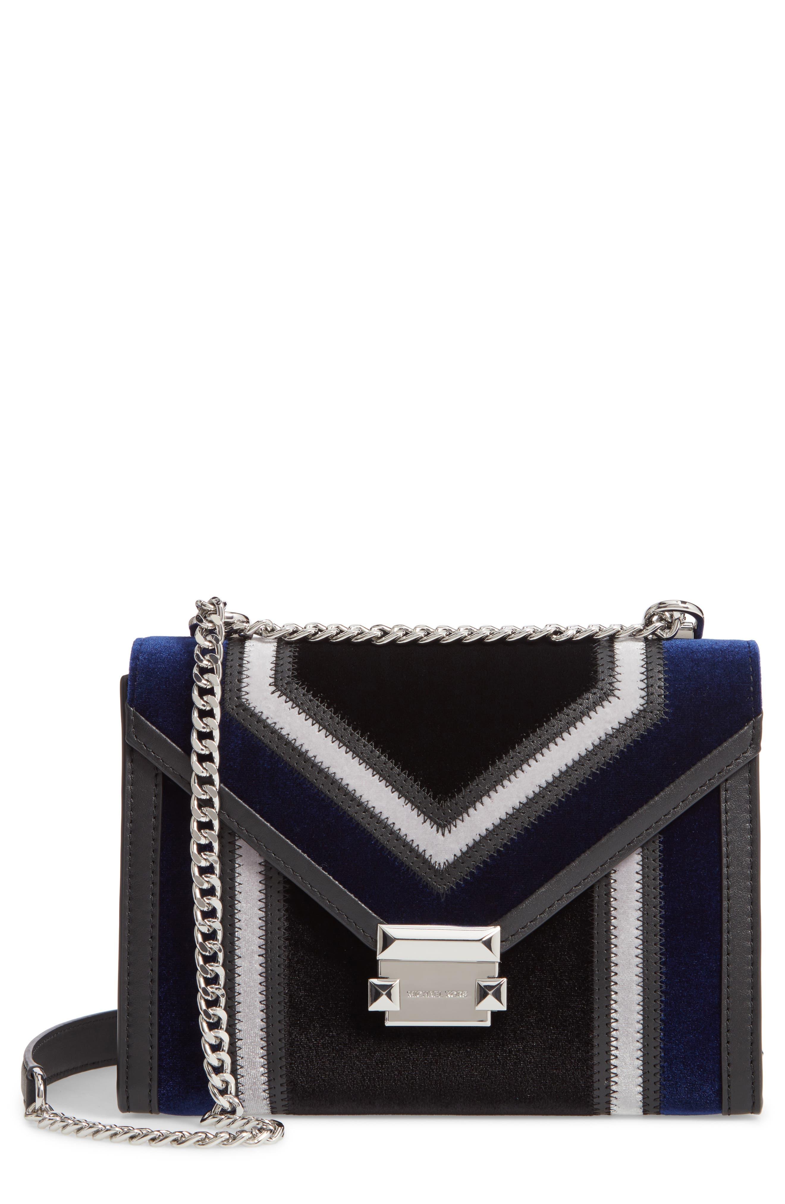 Large Velvet Shoulder Bag,                         Main,                         color, BLACK/ DARK BLUE