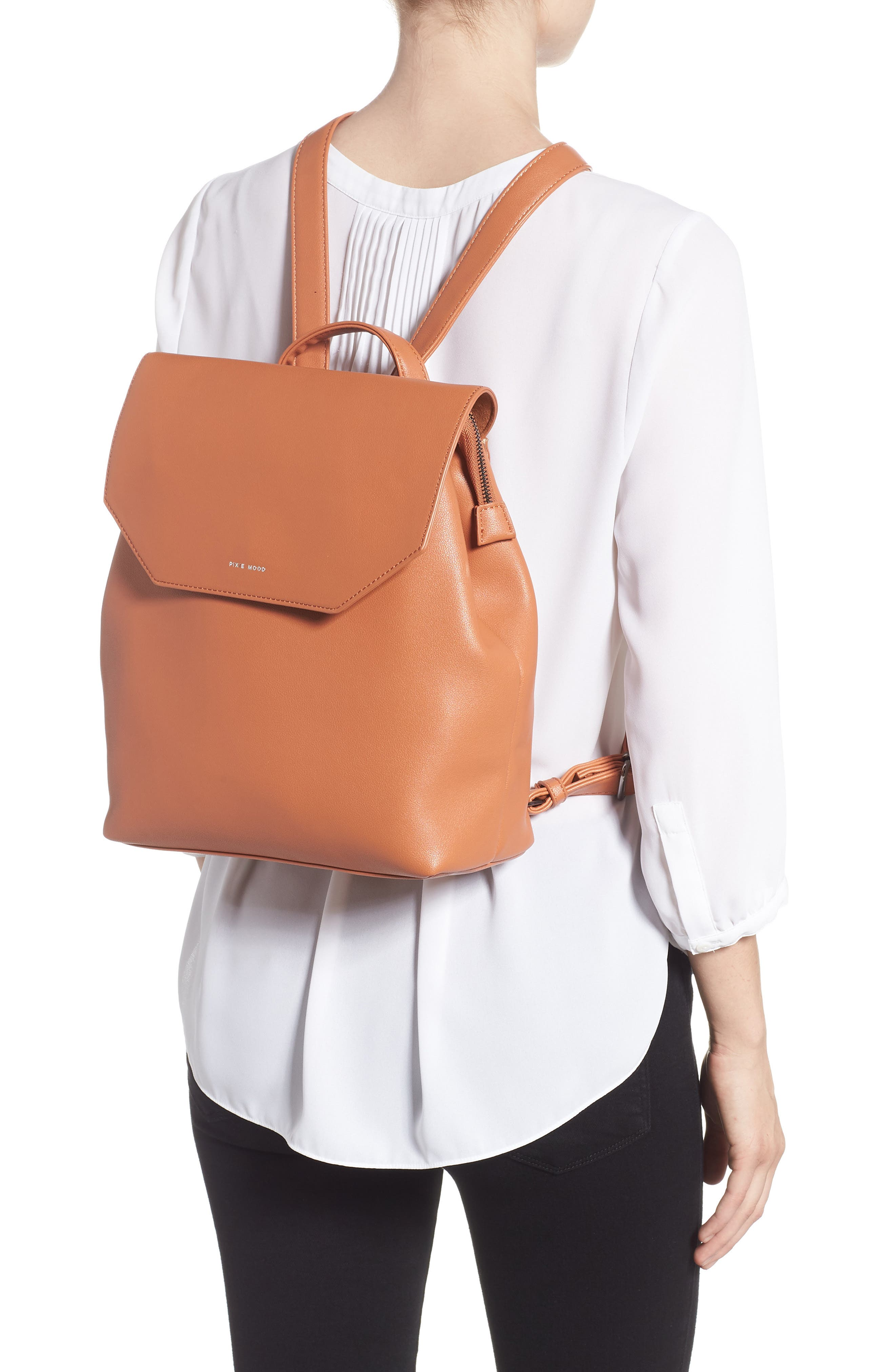 Valeria Faux Leather Backpack,                             Alternate thumbnail 2, color,                             CARAMEL