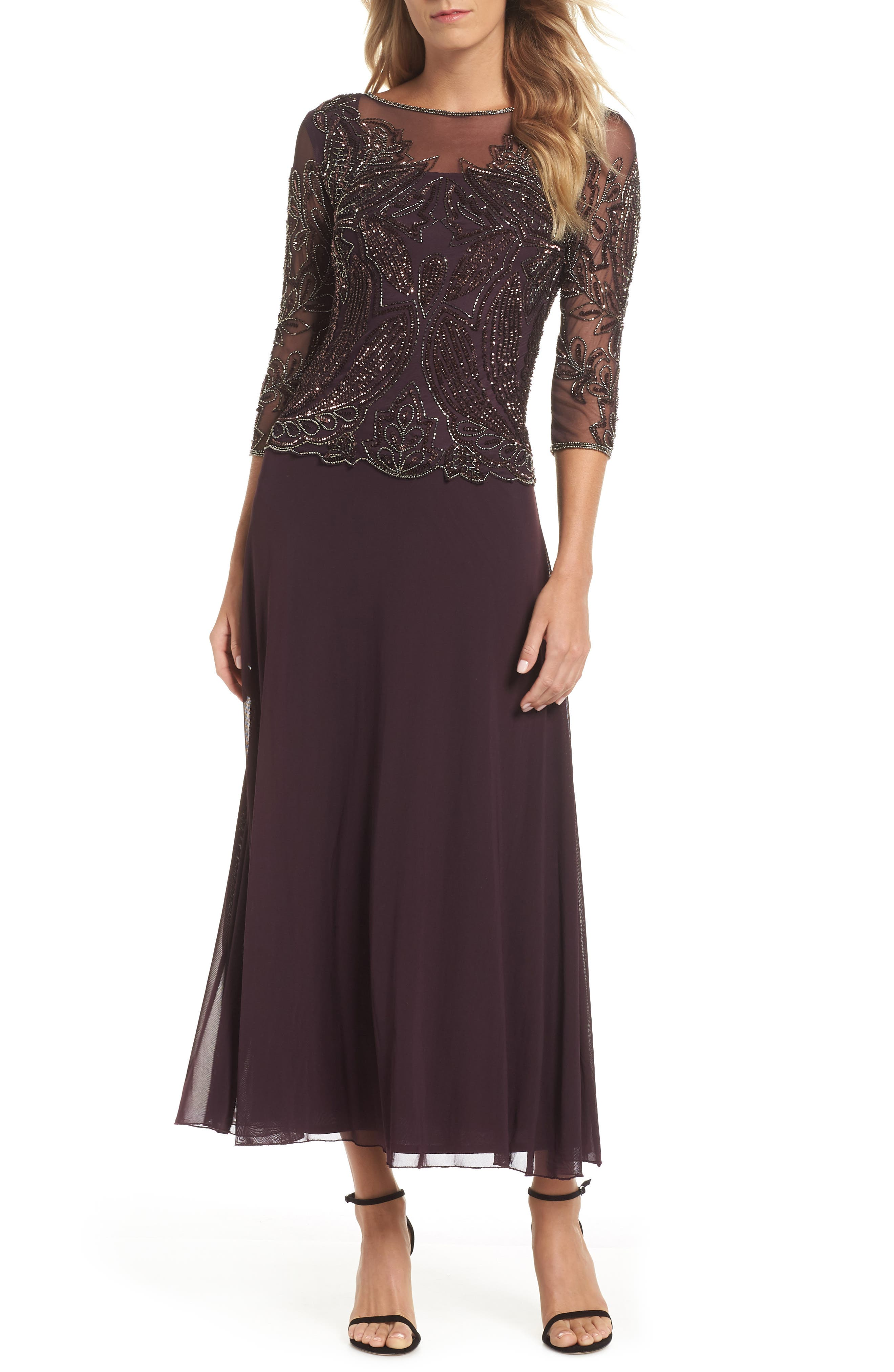Embellished Mesh Gown,                         Main,                         color, NEW WINE 2
