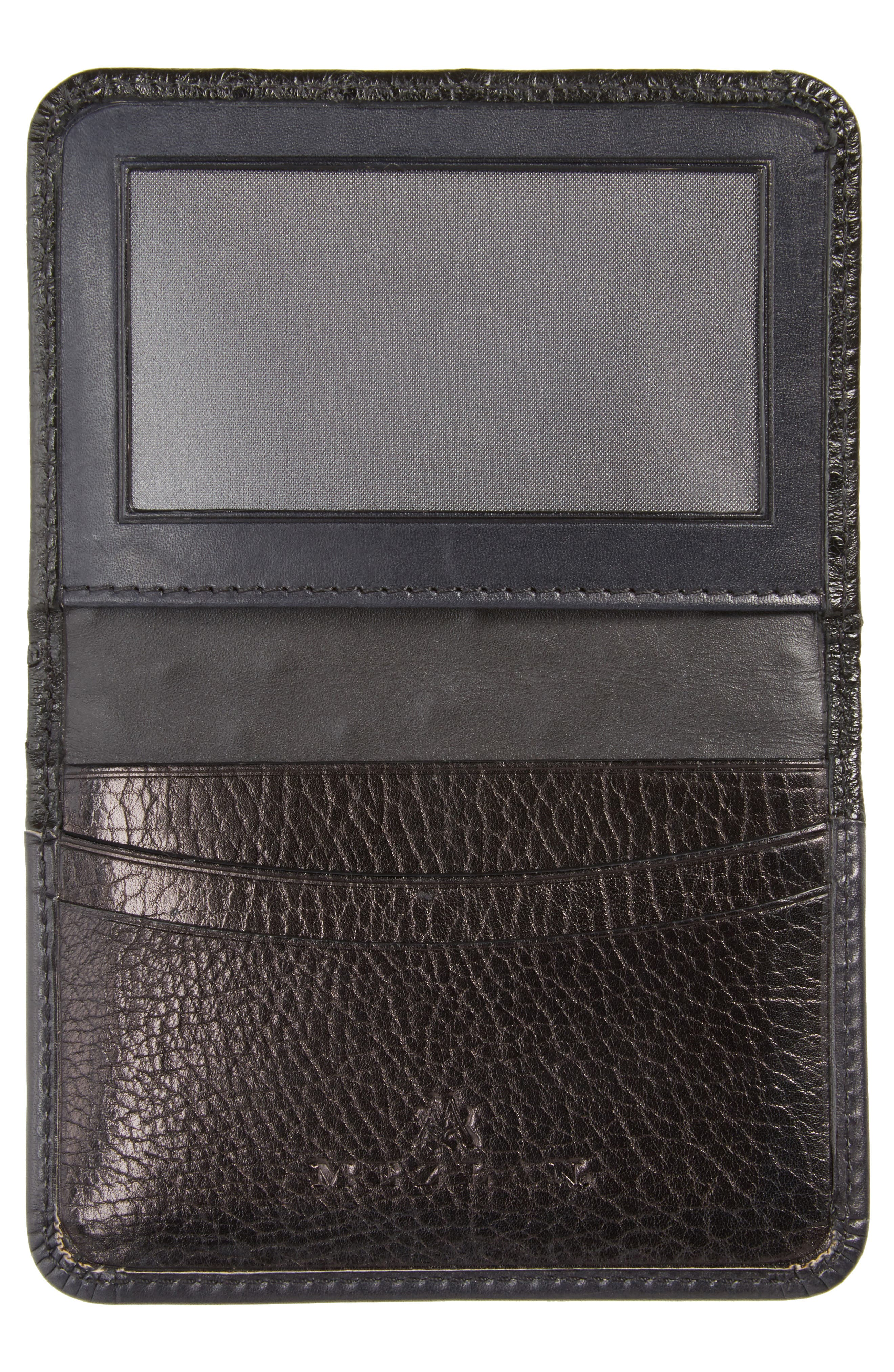 Ostrich Leather Card Case,                             Alternate thumbnail 2, color,                             BLACK