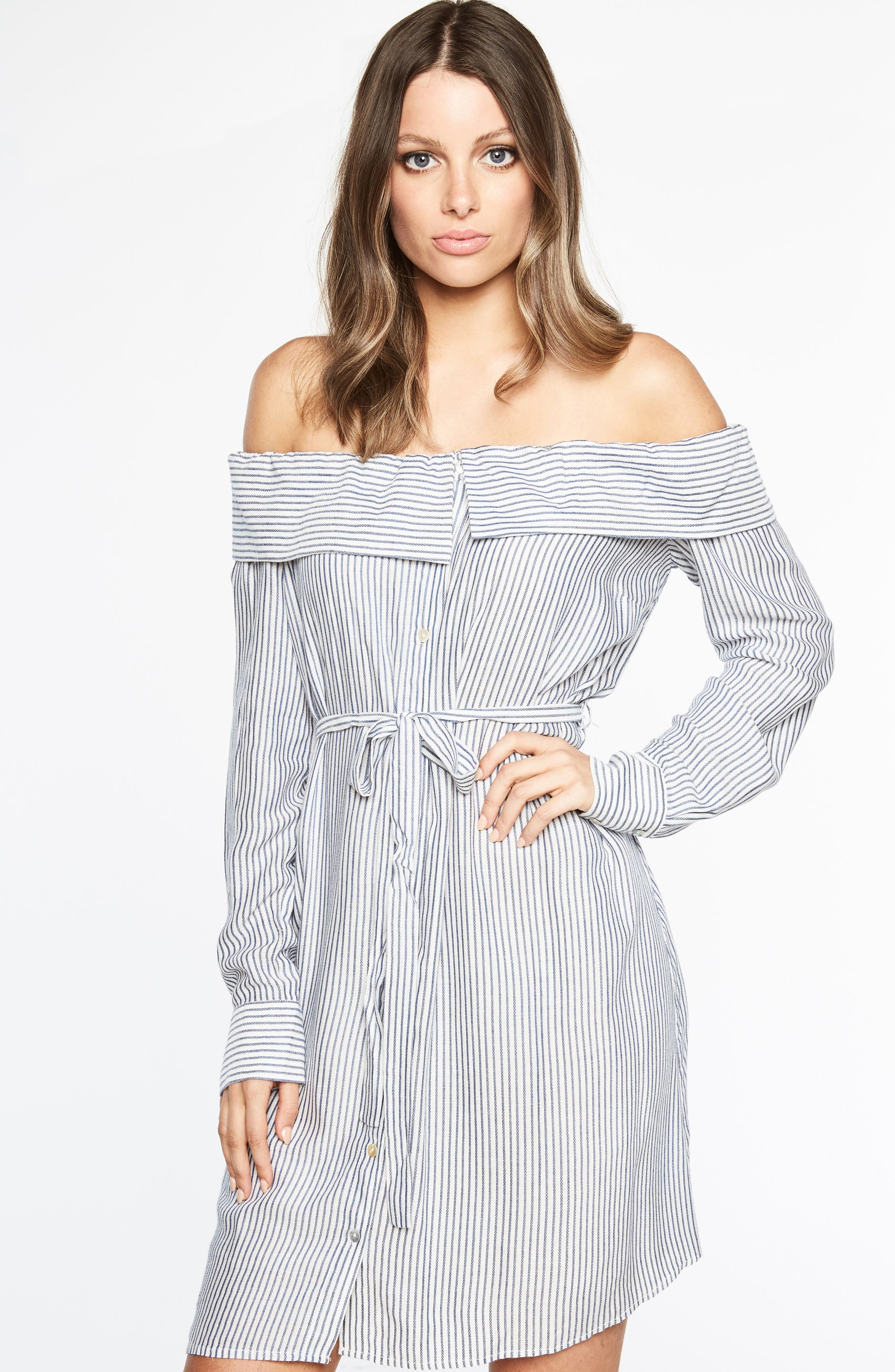 Sienna Off the Shoulder Shirtdress,                             Alternate thumbnail 5, color,                             486