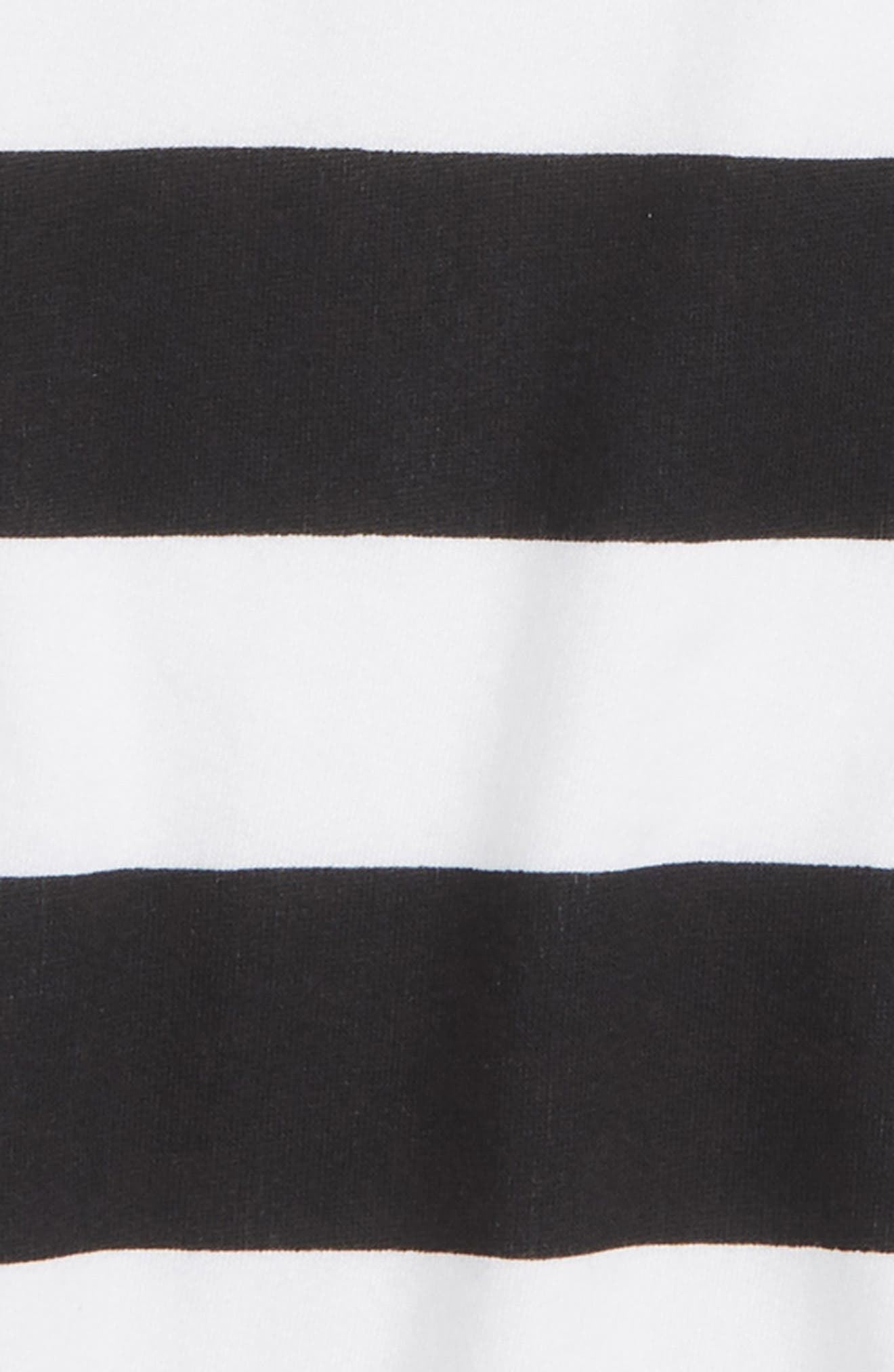 High/Low Sweatshirt,                             Alternate thumbnail 2, color,                             BLACK- WHITE STRIPE