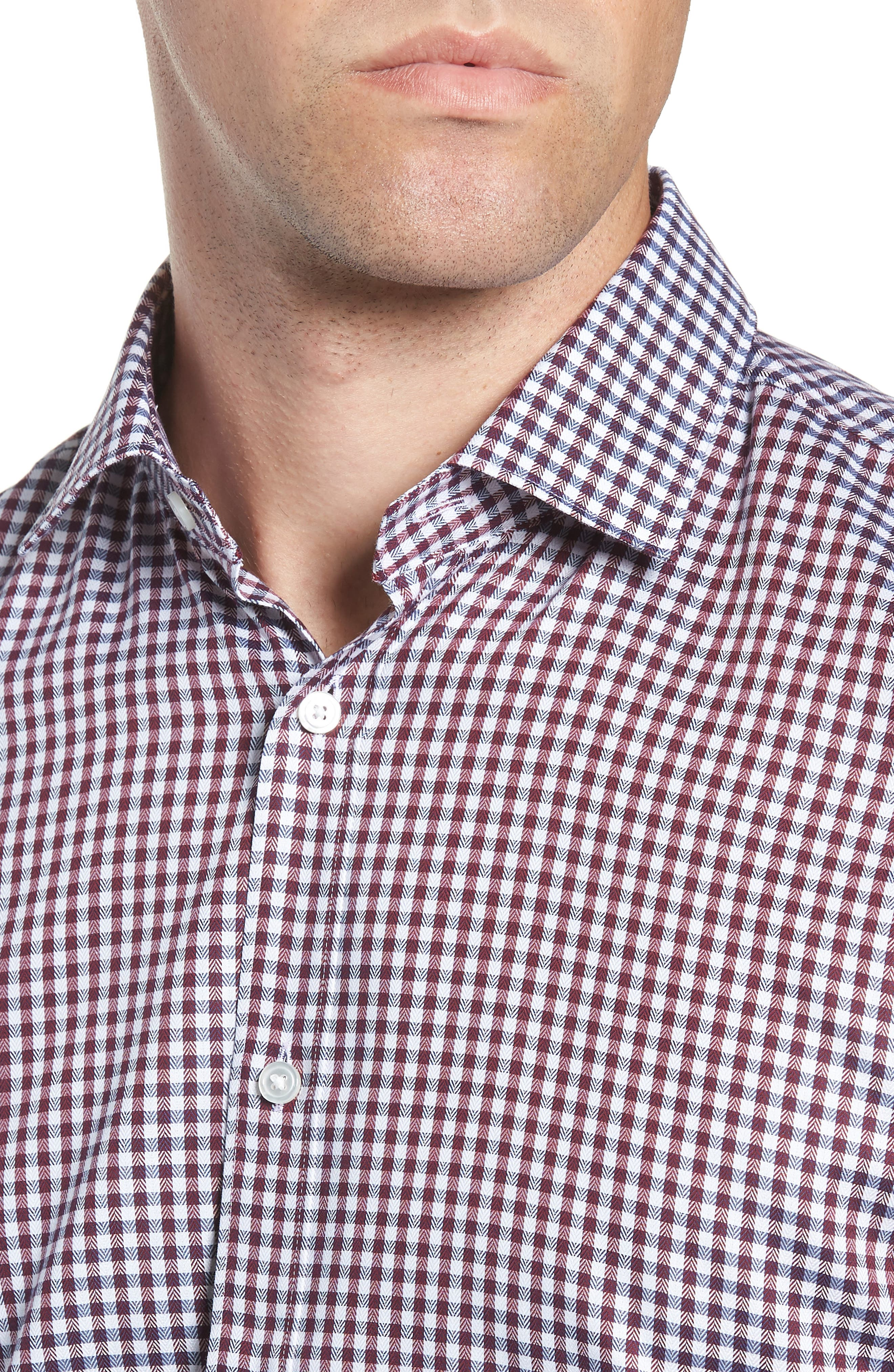 x Nordstrom Isaac Slim Fit Check Dress Shirt,                             Alternate thumbnail 2, color,                             RED