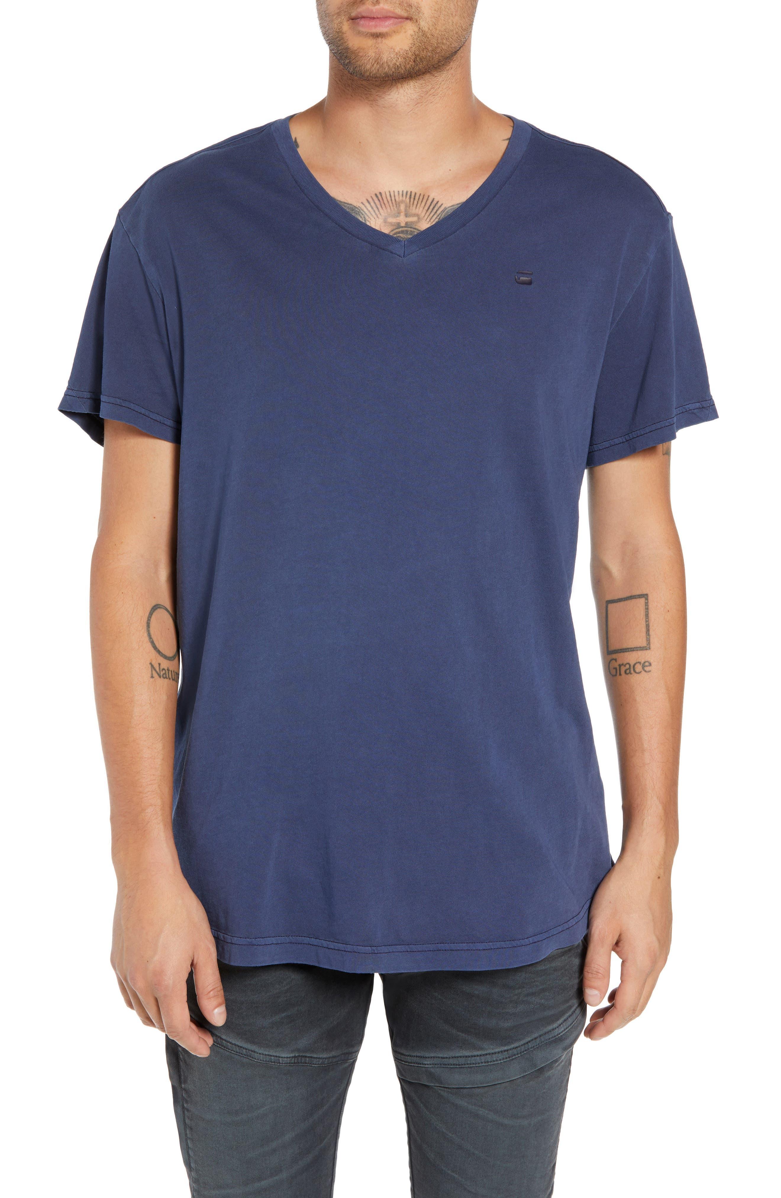 G-STAR RAW Starkton Solid V-Neck T-Shirt in Sartho Blue