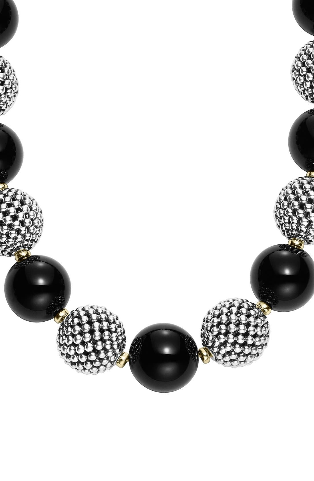 'Black Caviar' Beaded Necklace,                             Alternate thumbnail 3, color,                             040