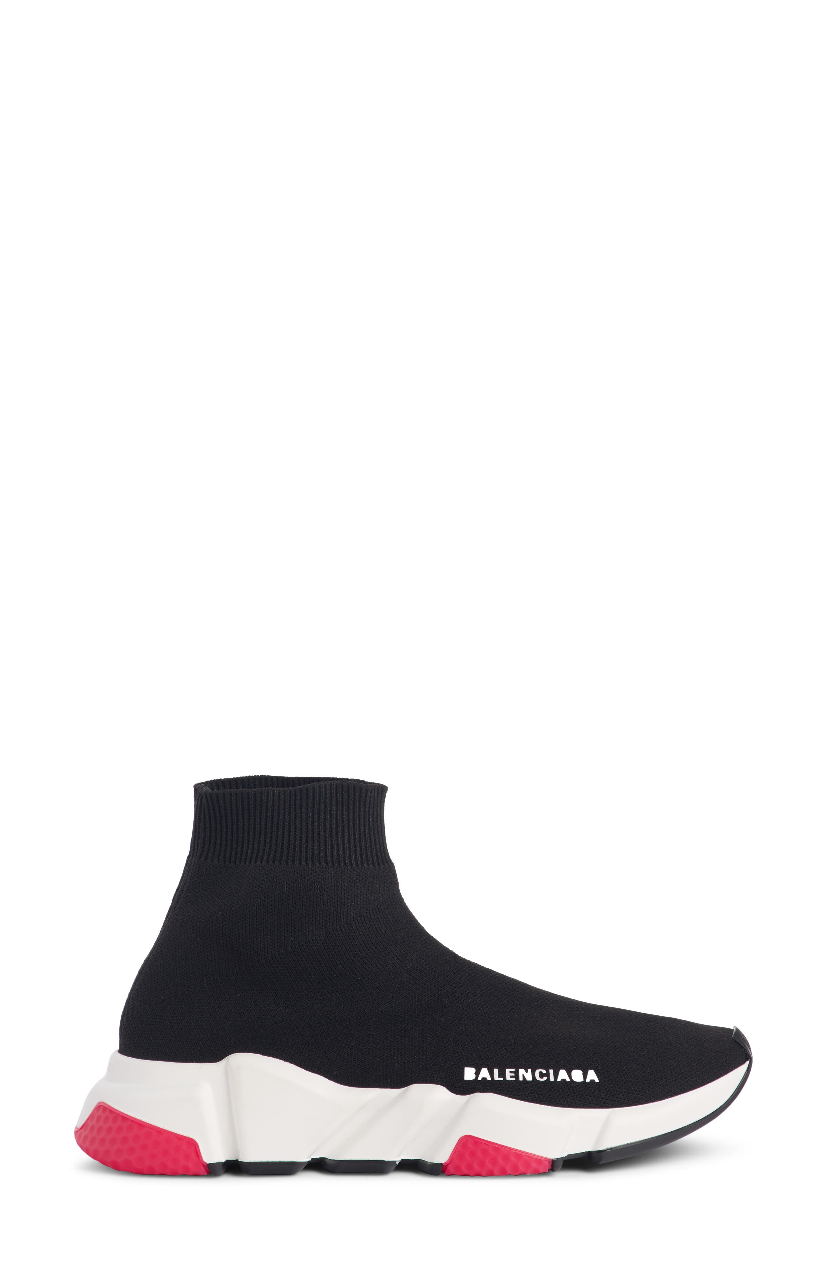 BALENCIAGA,                             Mid Speed Trainer Sock Sneaker,                             Alternate thumbnail 3, color,                             001