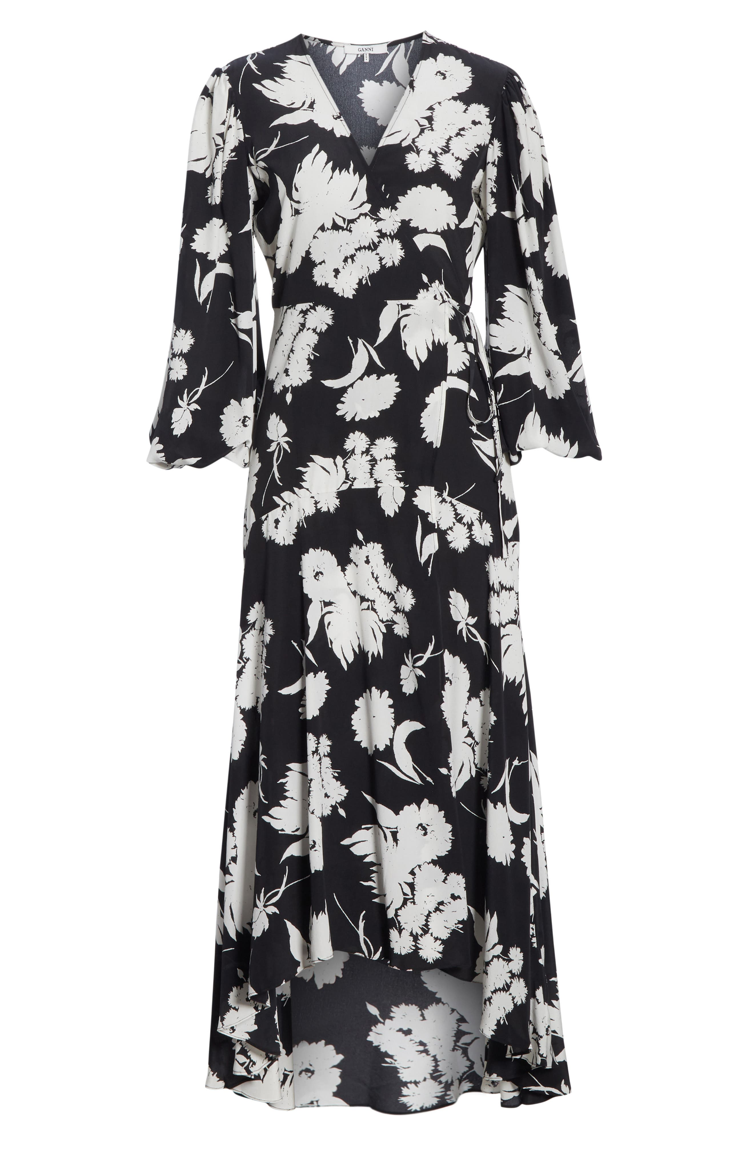 Floral Silk Wrap Dress,                             Alternate thumbnail 6, color,                             001