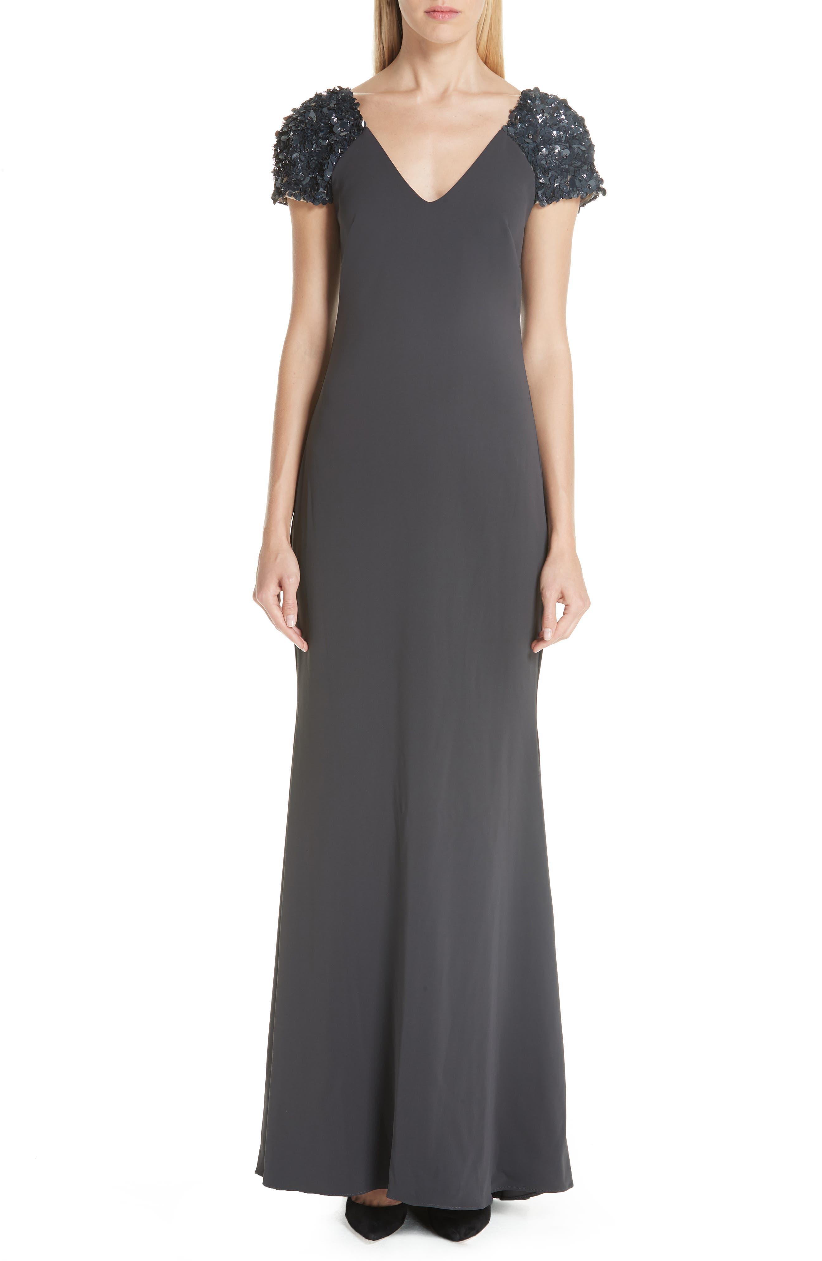 Badgley Mischka Collection Beaded Cap Sleeve Gown, Grey