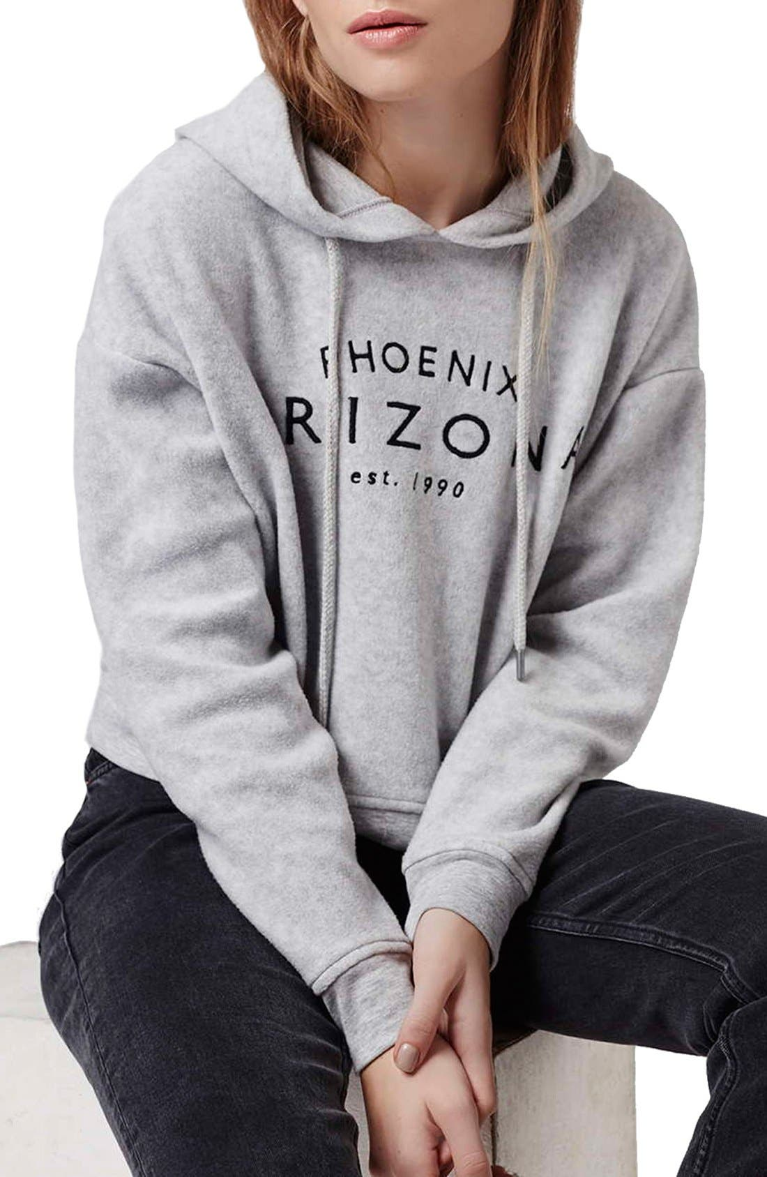 'Arizona' Embroidered Brushed Fleece Hoodie, Main, color, 050