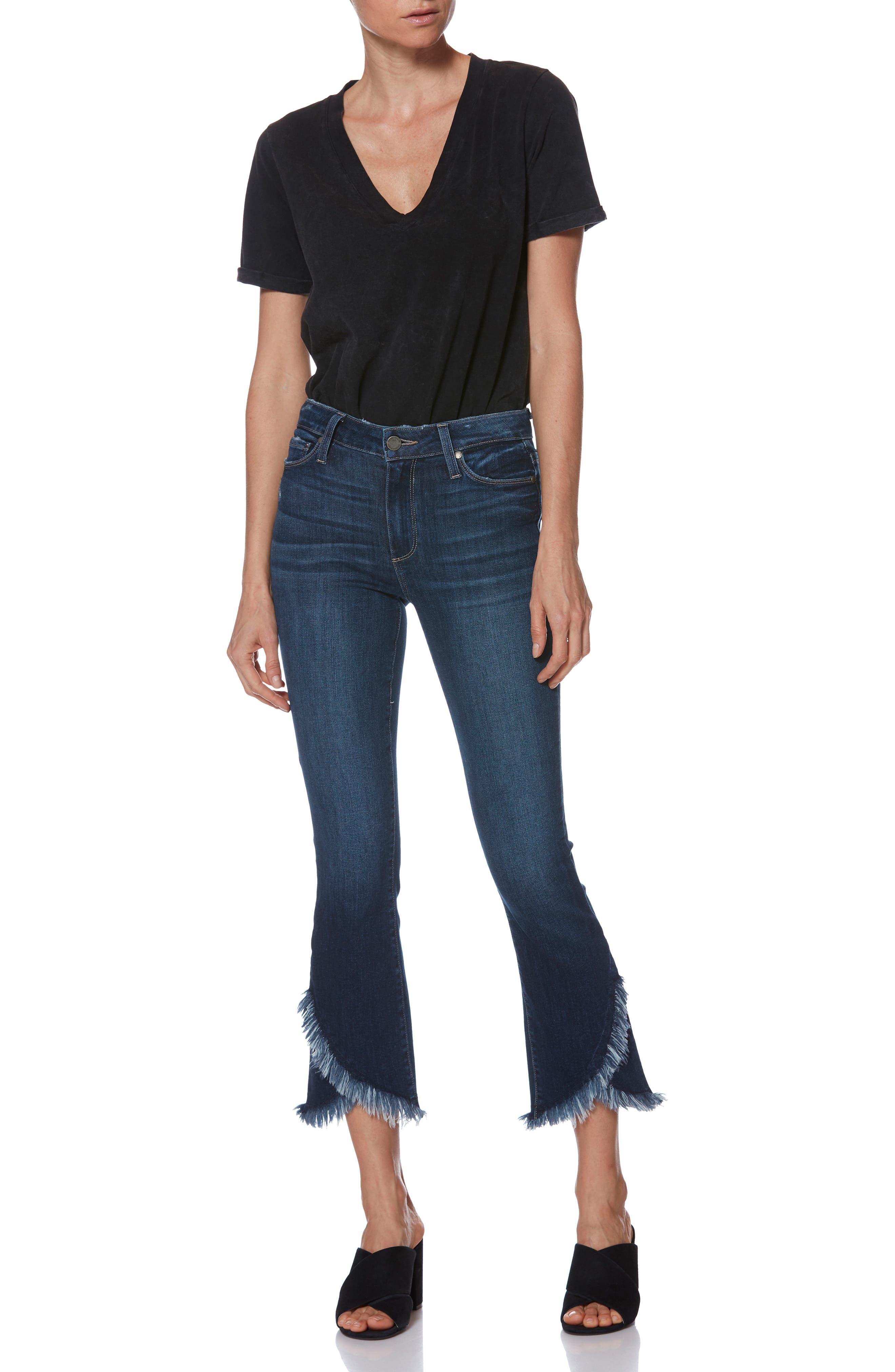 PAIGE,                             Transcend Vintage - Colette Frayed Crop Flare Jeans,                             Alternate thumbnail 7, color,                             PALMA