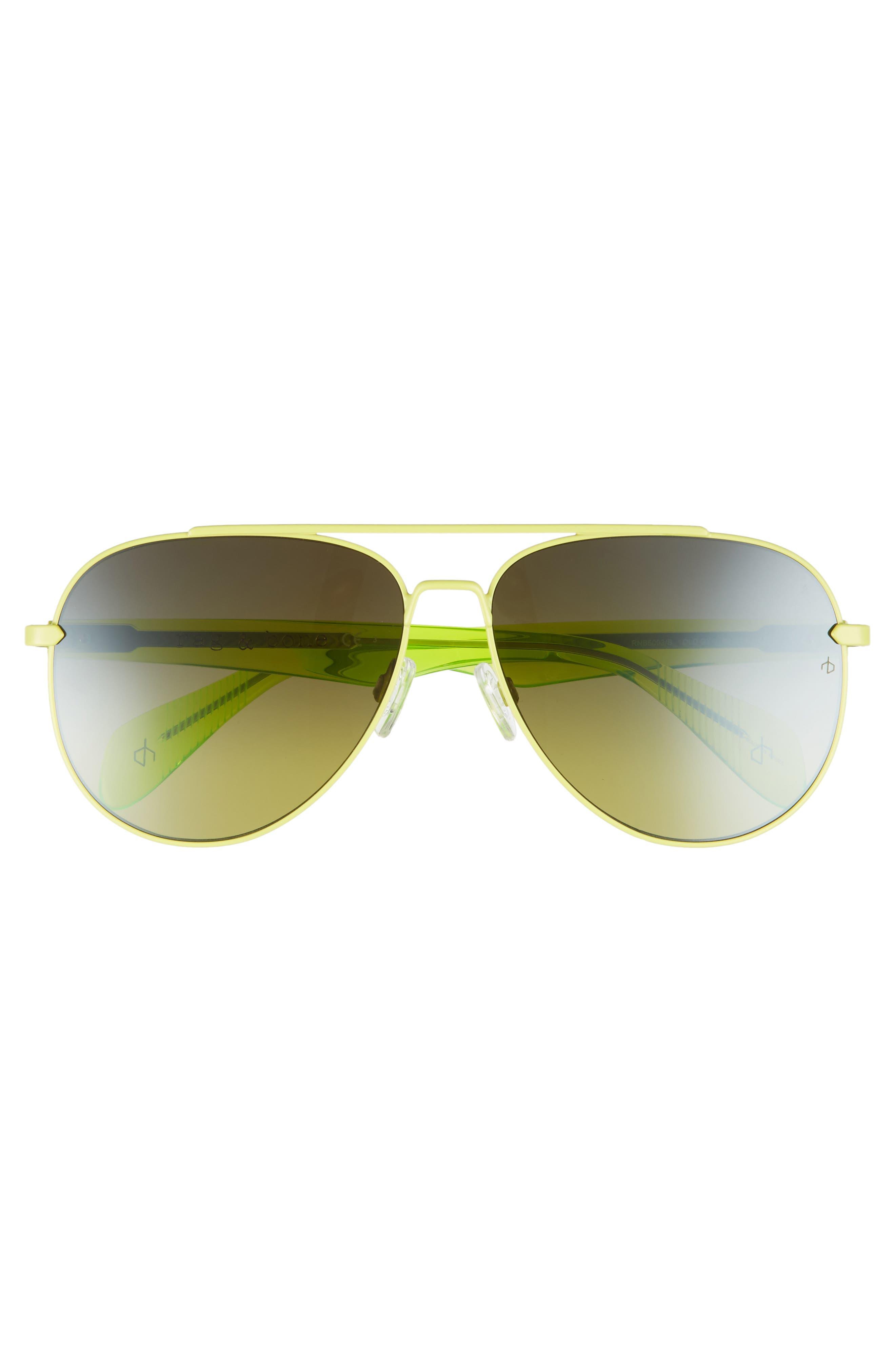 62mm Oversize Aviator Sunglasses,                             Alternate thumbnail 3, color,                             MATTE GREEN