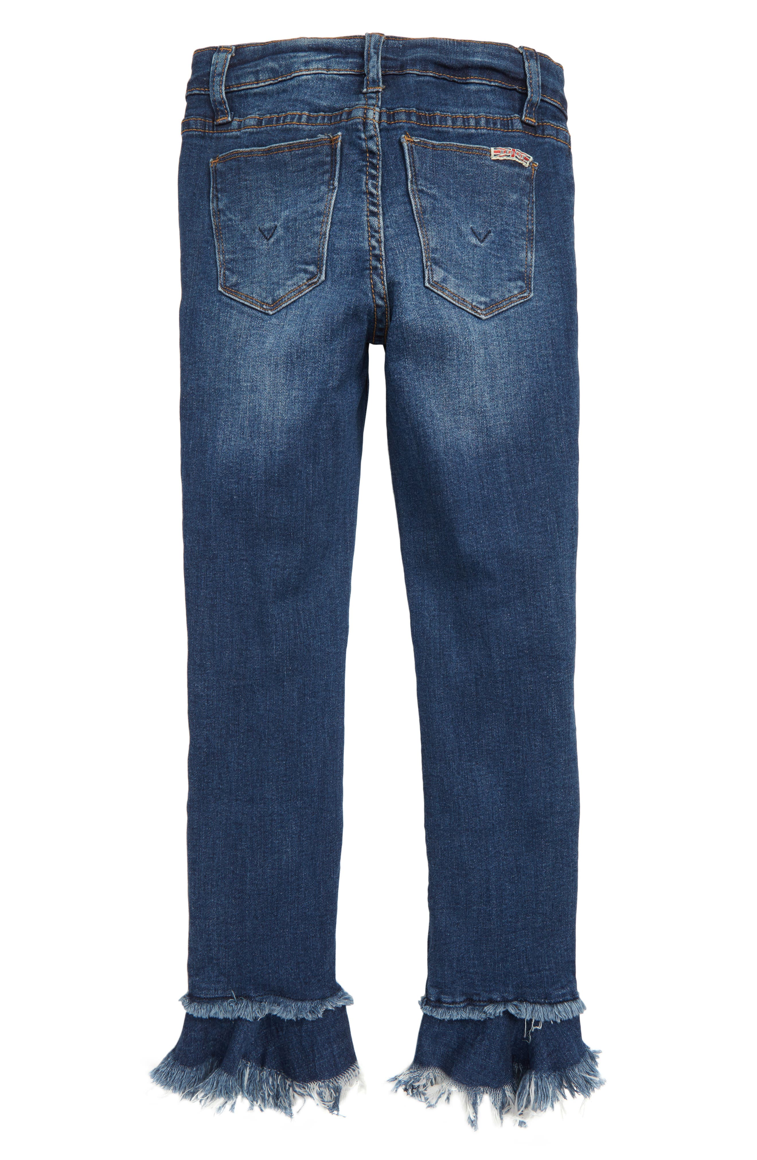 Ripped Ruffle Crop Jeans,                             Alternate thumbnail 2, color,                             DARK WASH