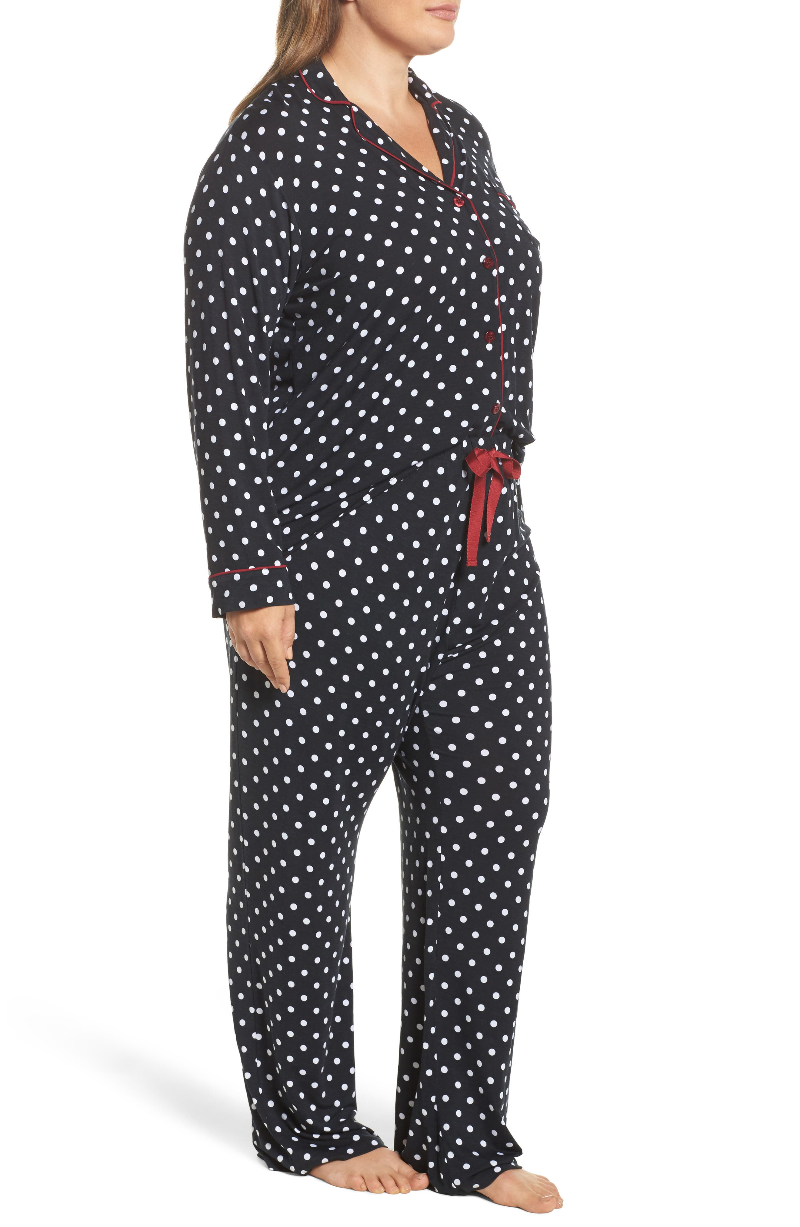 Stretch Modal Pajamas & Eye Mask,                             Alternate thumbnail 3, color,                             001