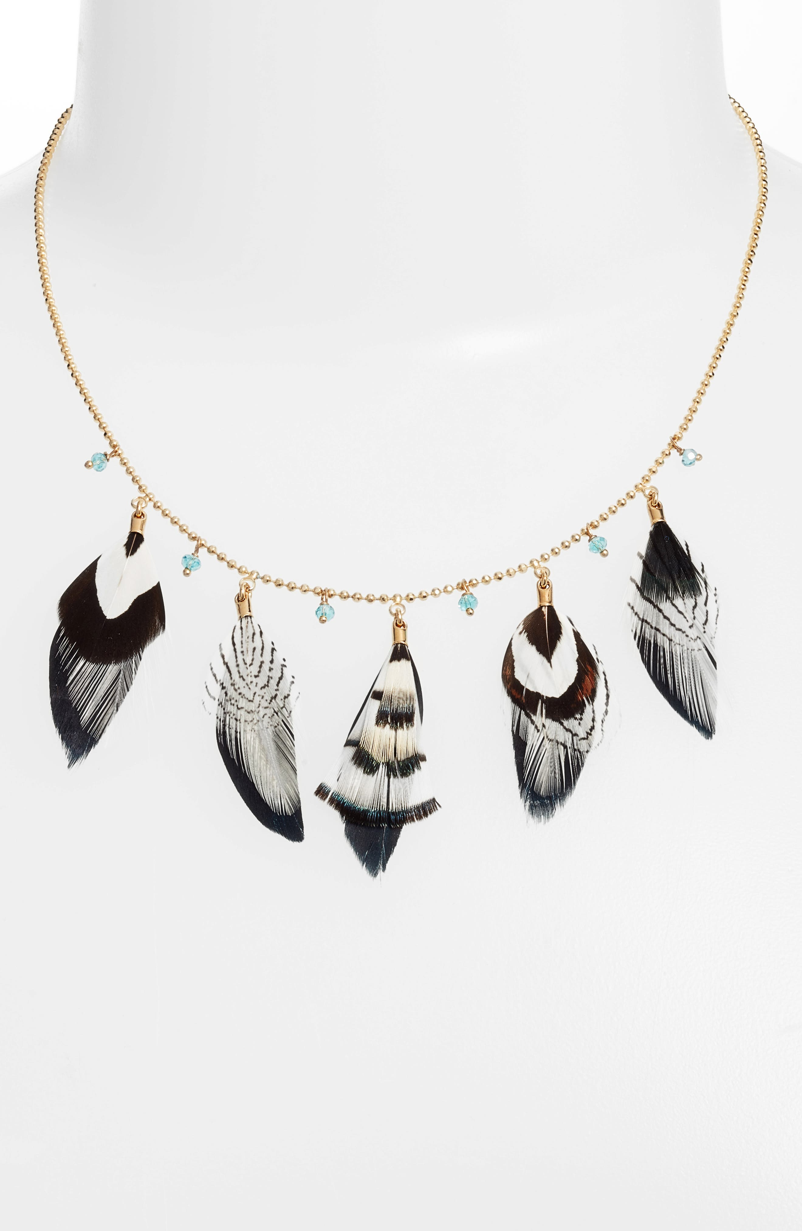 Feather Collar Necklace,                             Alternate thumbnail 3, color,