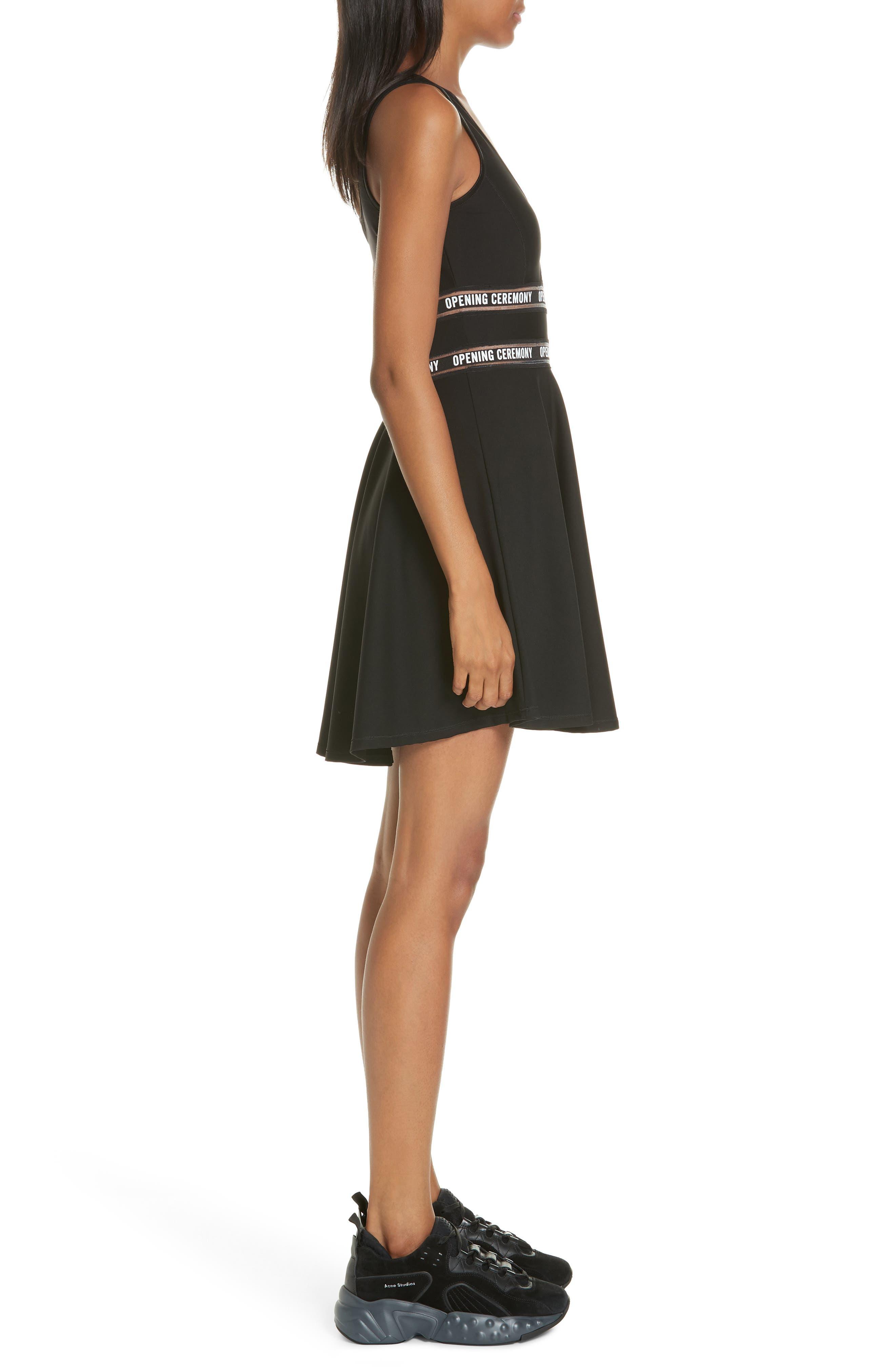 Logo Waist Cutout Fit & Flare Dress,                             Alternate thumbnail 3, color,                             BLACK