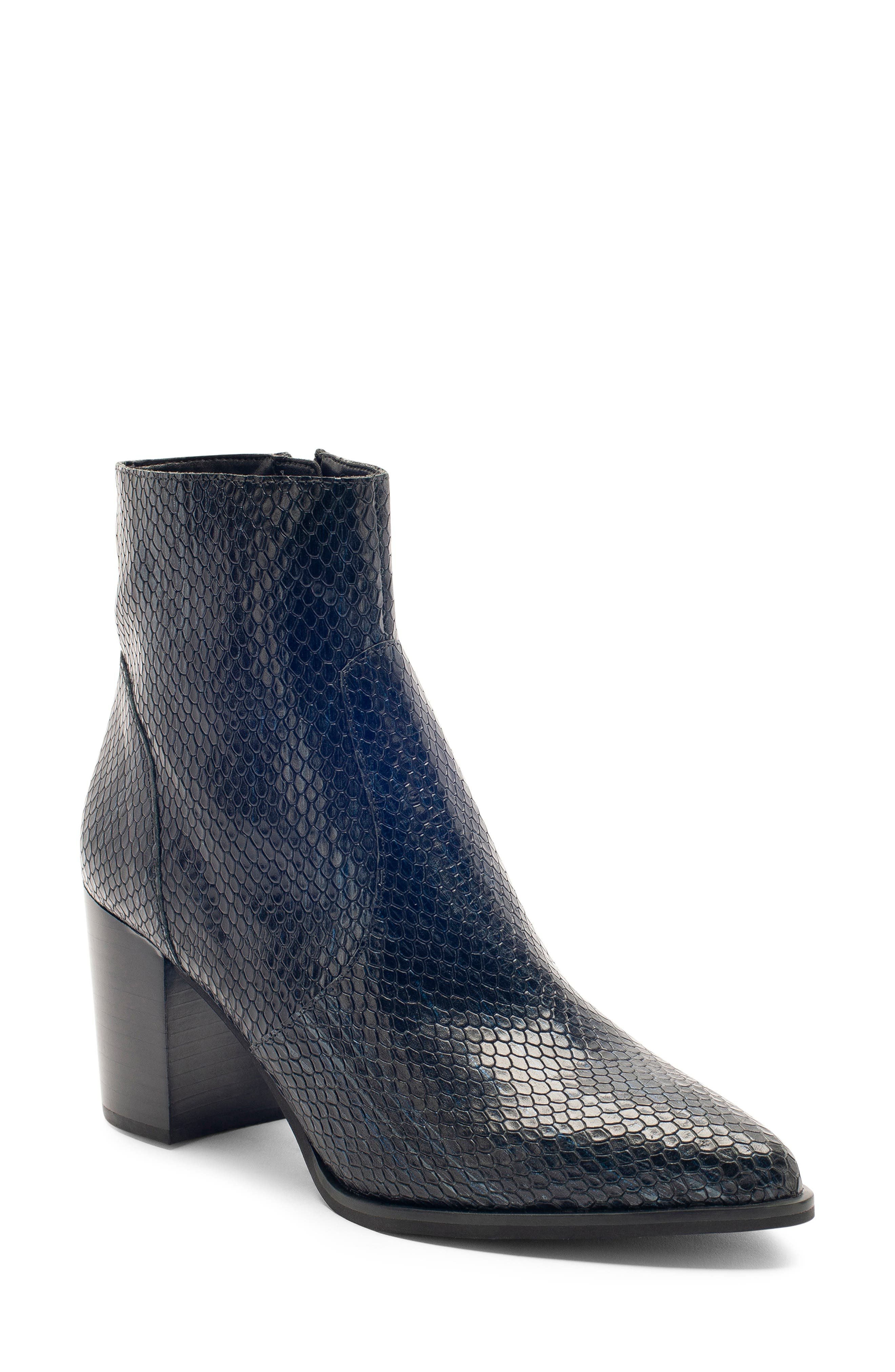 Tania Waterproof Bootie,                         Main,                         color, BLACK SNAKE LEATHER