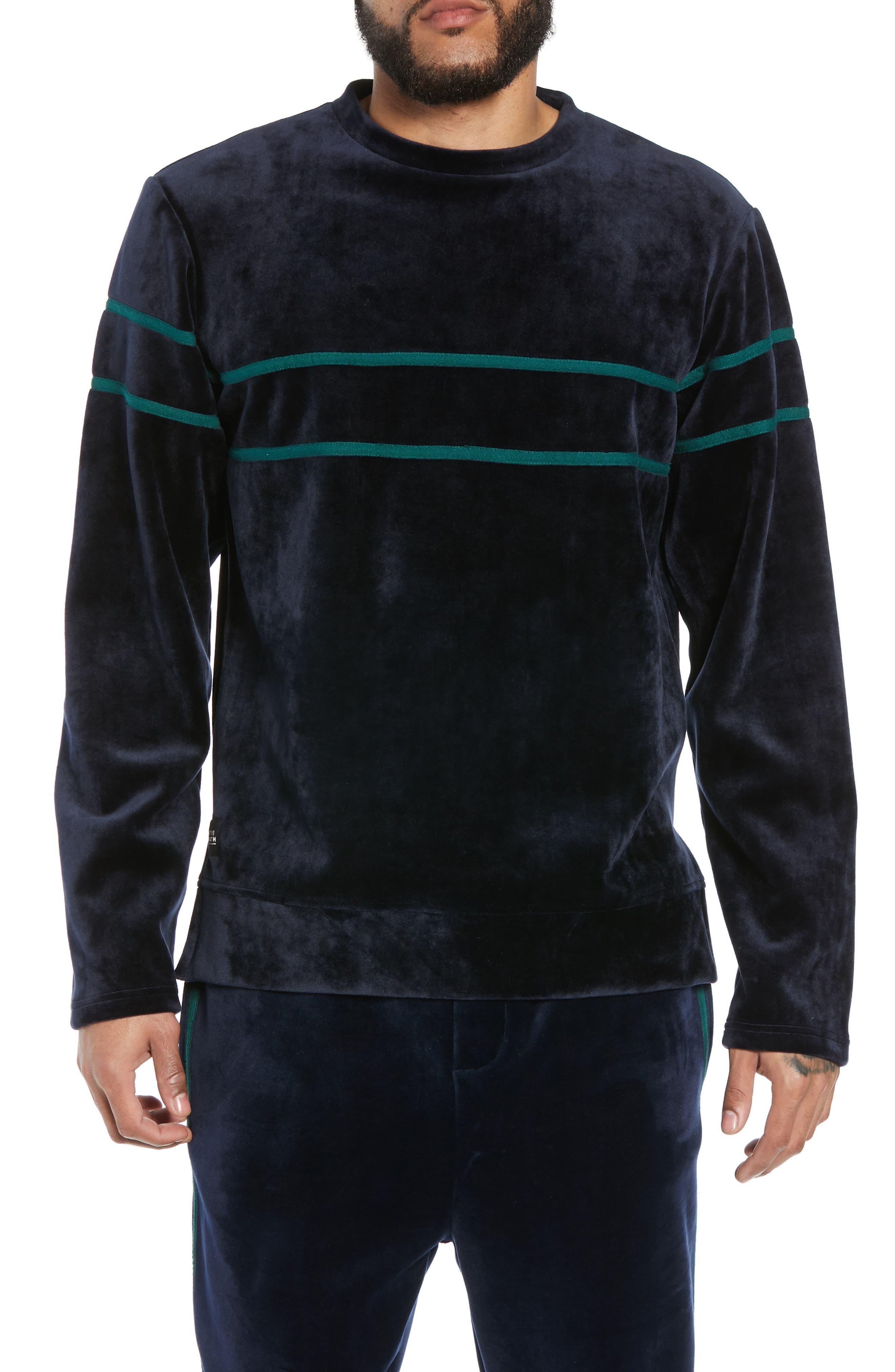 NATIVE YOUTH Stripe Velour Sweatshirt in Navy