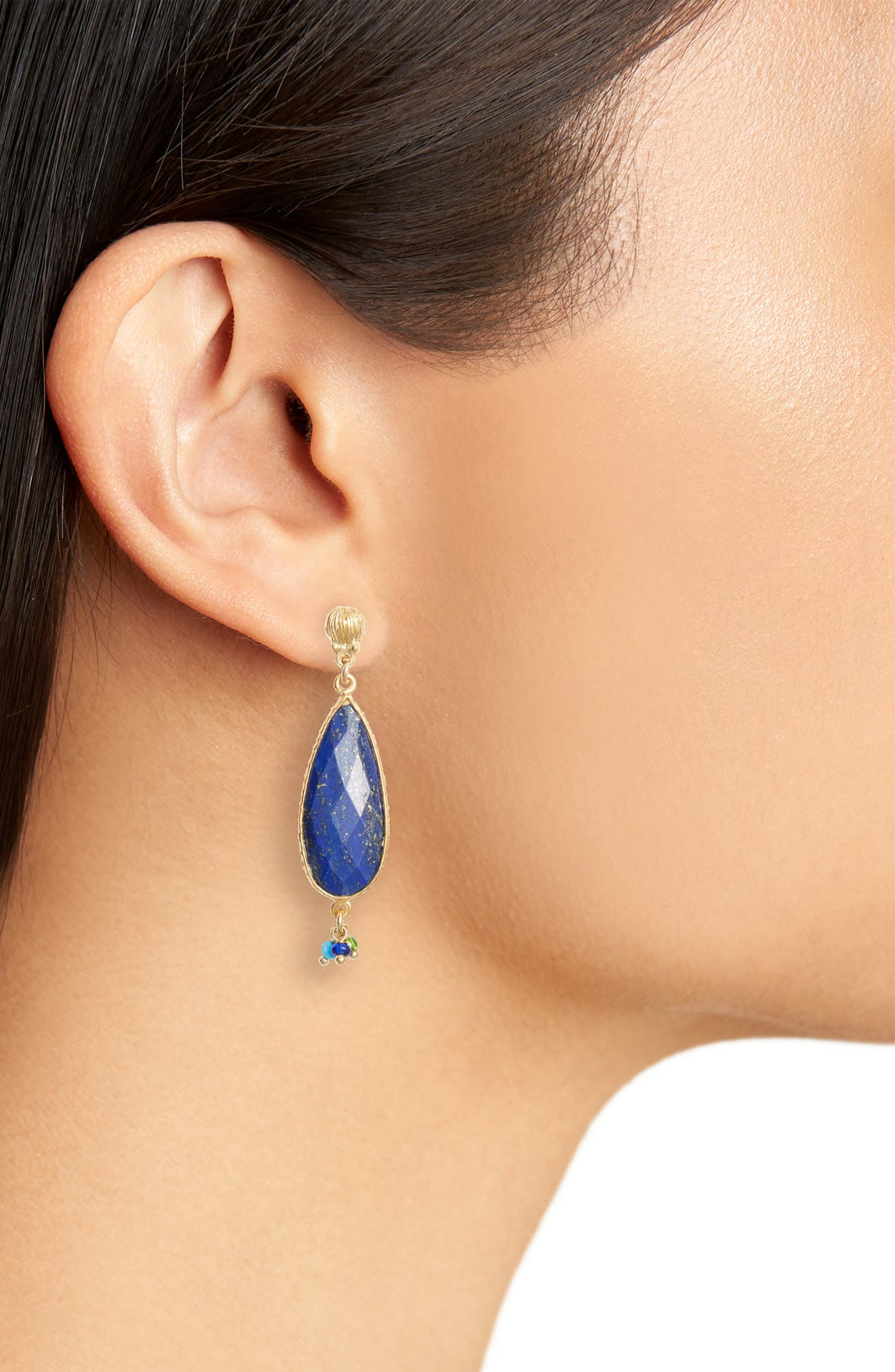 Serti Goutte Drop Earrings,                             Alternate thumbnail 2, color,                             BLUE