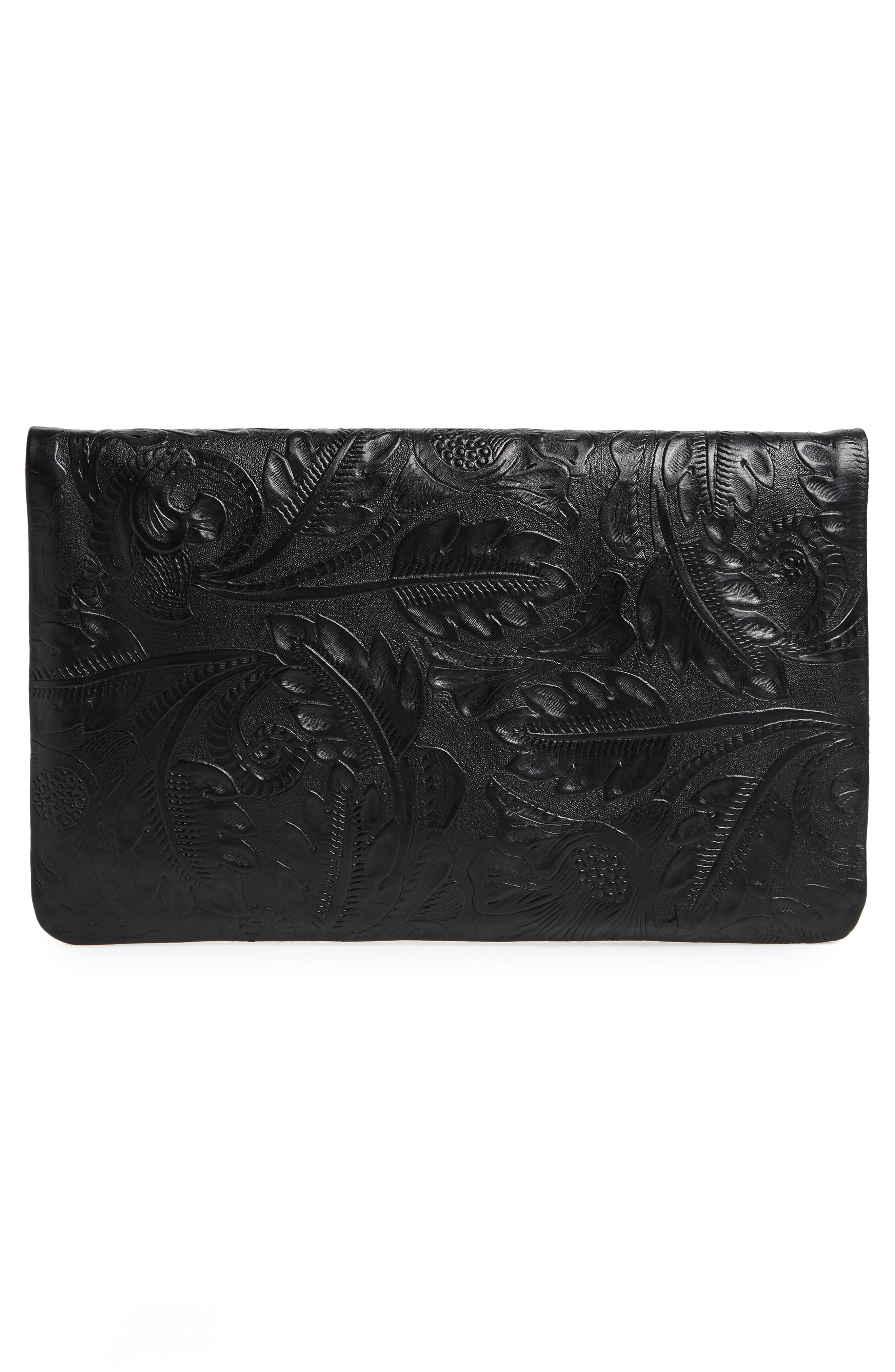 Flower Embossed Foldover Leather Clutch,                             Alternate thumbnail 3, color,                             BLACK