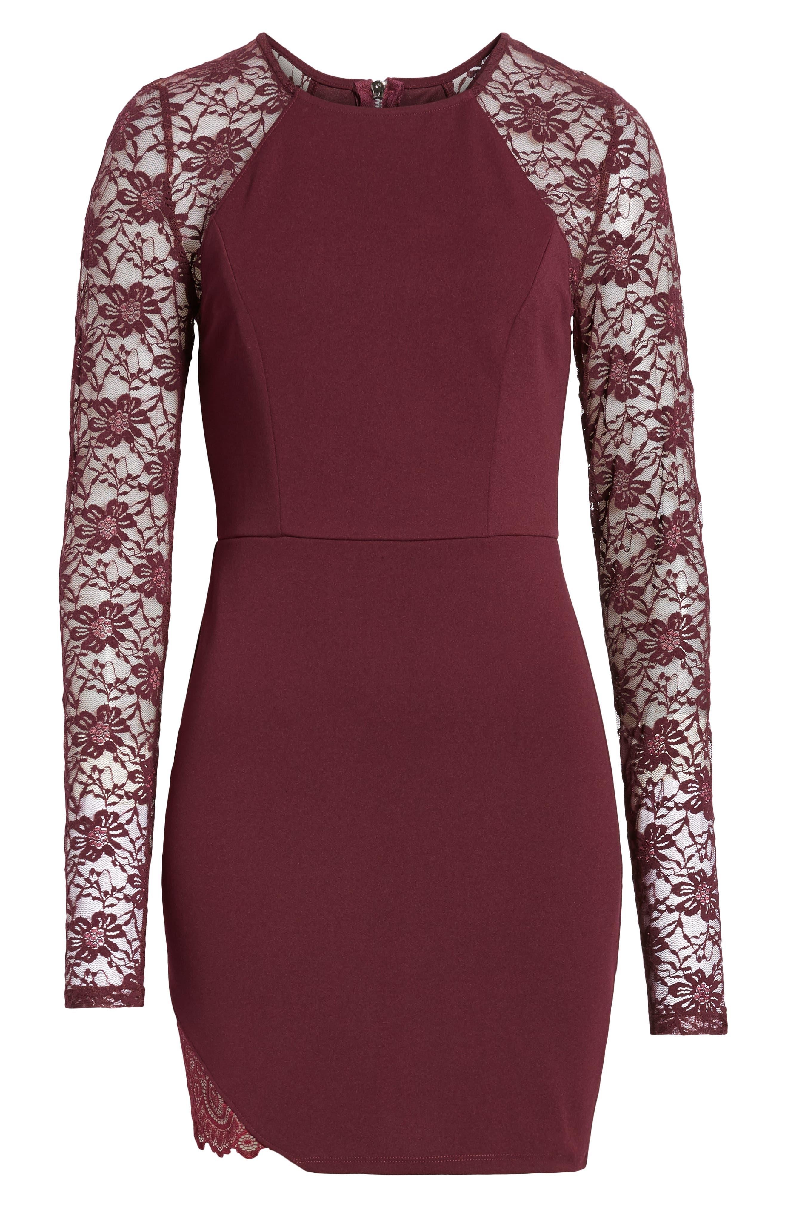 Lace Sleeve Body-Con Dress,                             Alternate thumbnail 7, color,                             PLUM