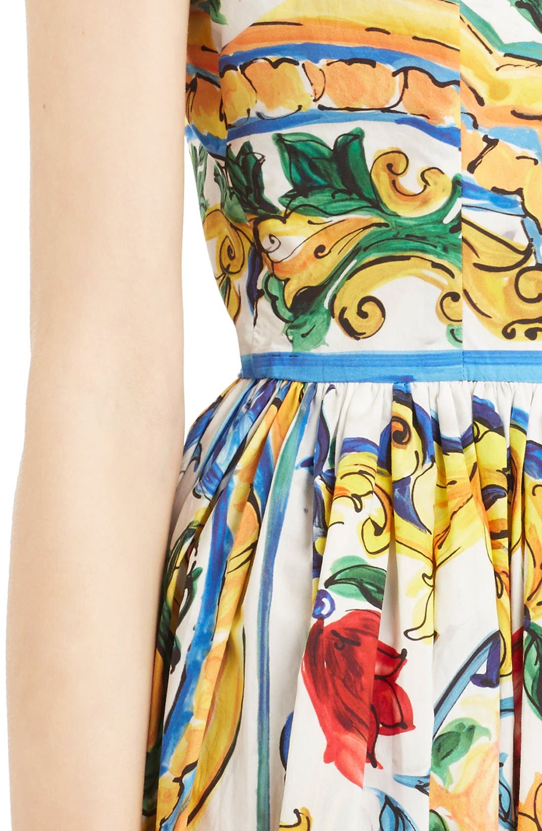 'Majolica' Tile Print Cotton Poplin Dress,                             Alternate thumbnail 5, color,                             700