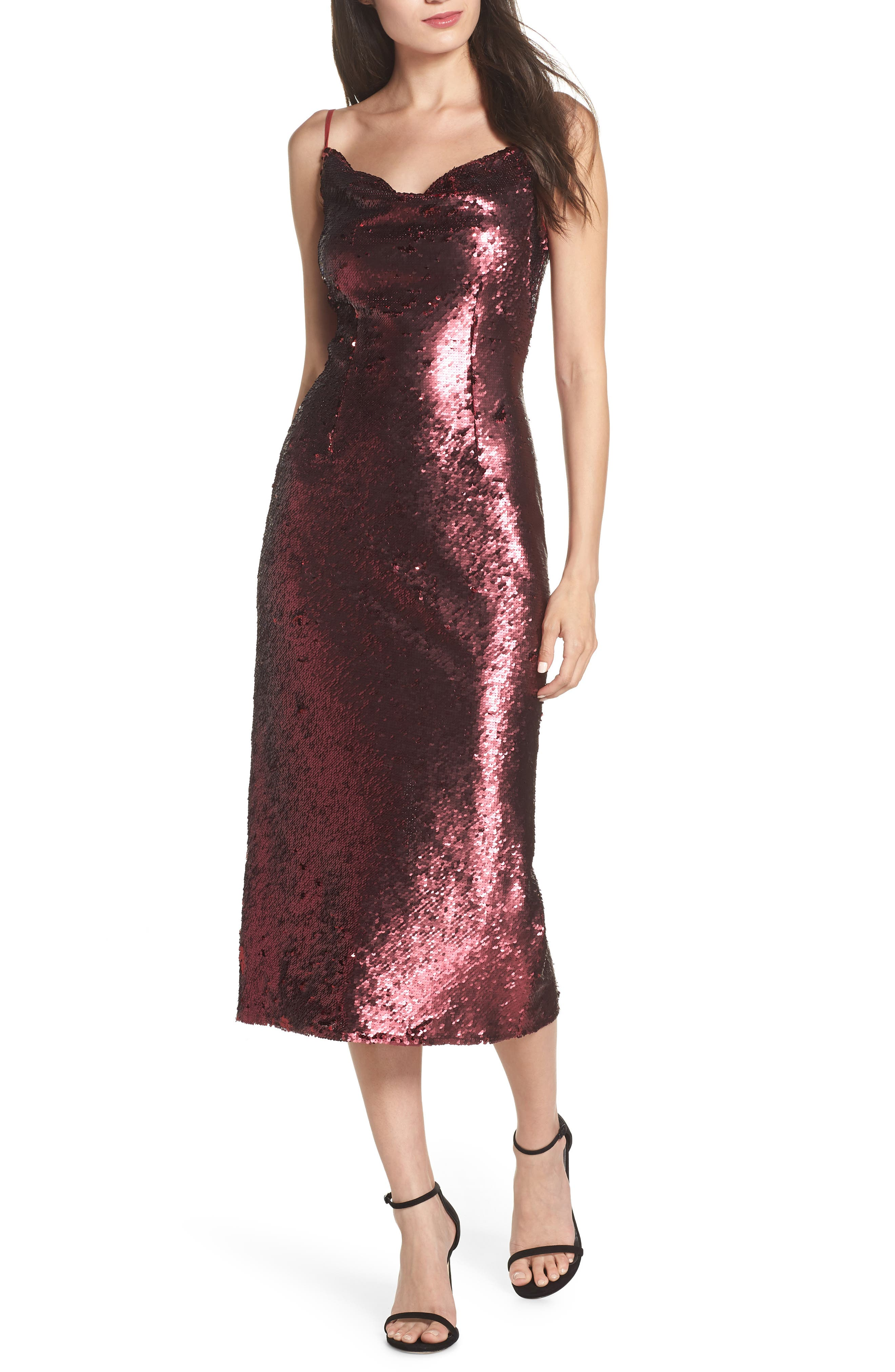 Keepsake The Label No More Signs Sequin Cocktail Dress, Red
